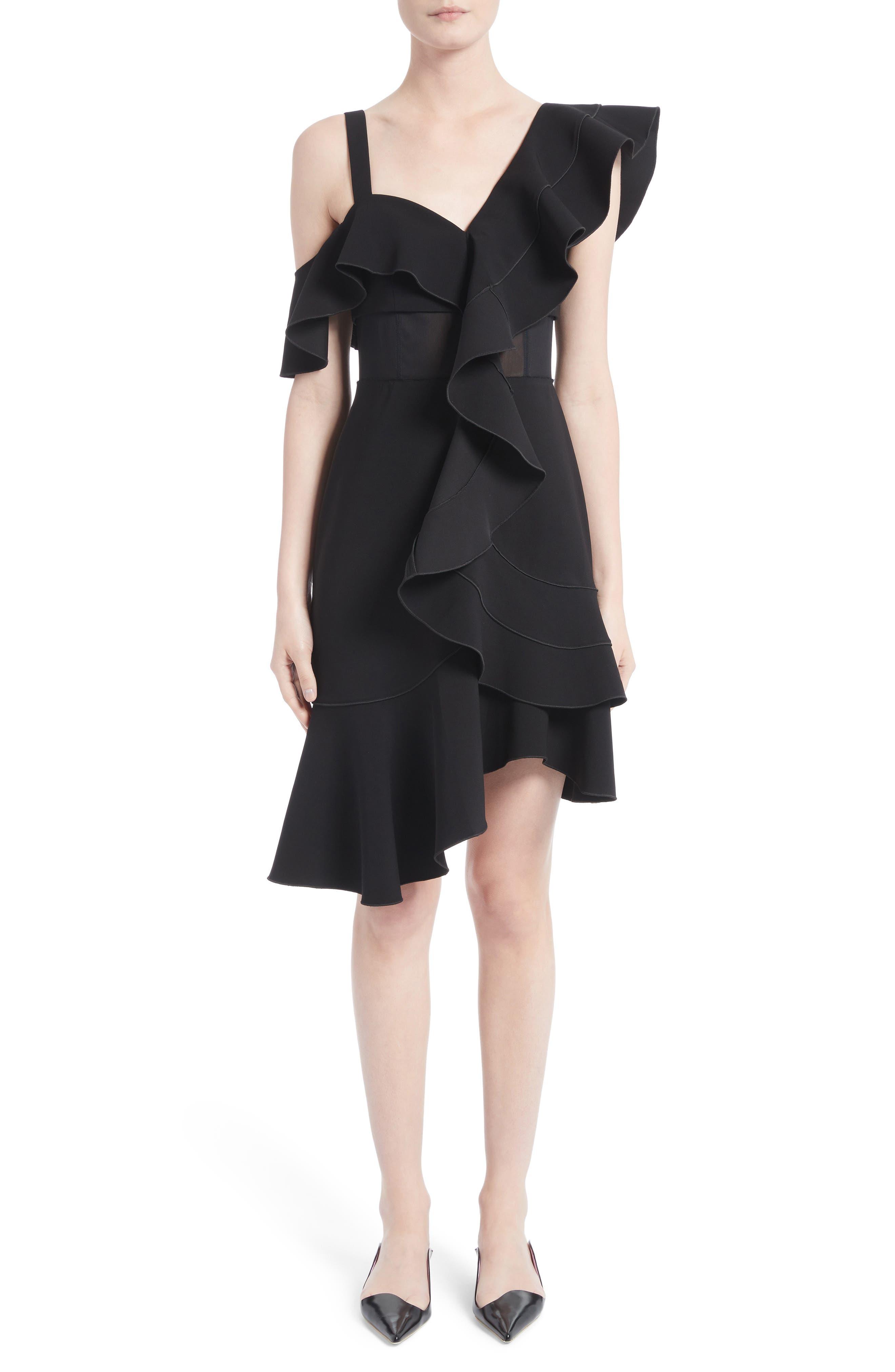 Ruffle Midi Dress,                             Alternate thumbnail 5, color,                             001
