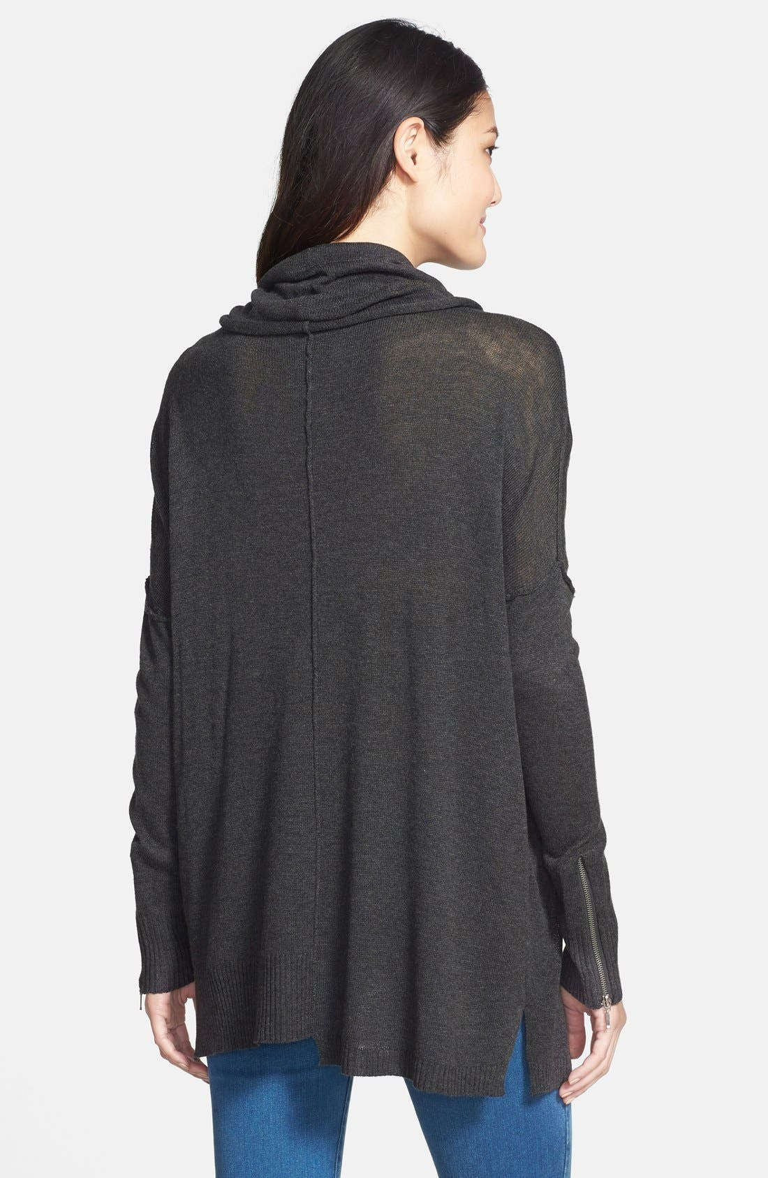 Zip Sleeve Cowl Neck Tunic Sweater,                             Alternate thumbnail 3, color,                             035
