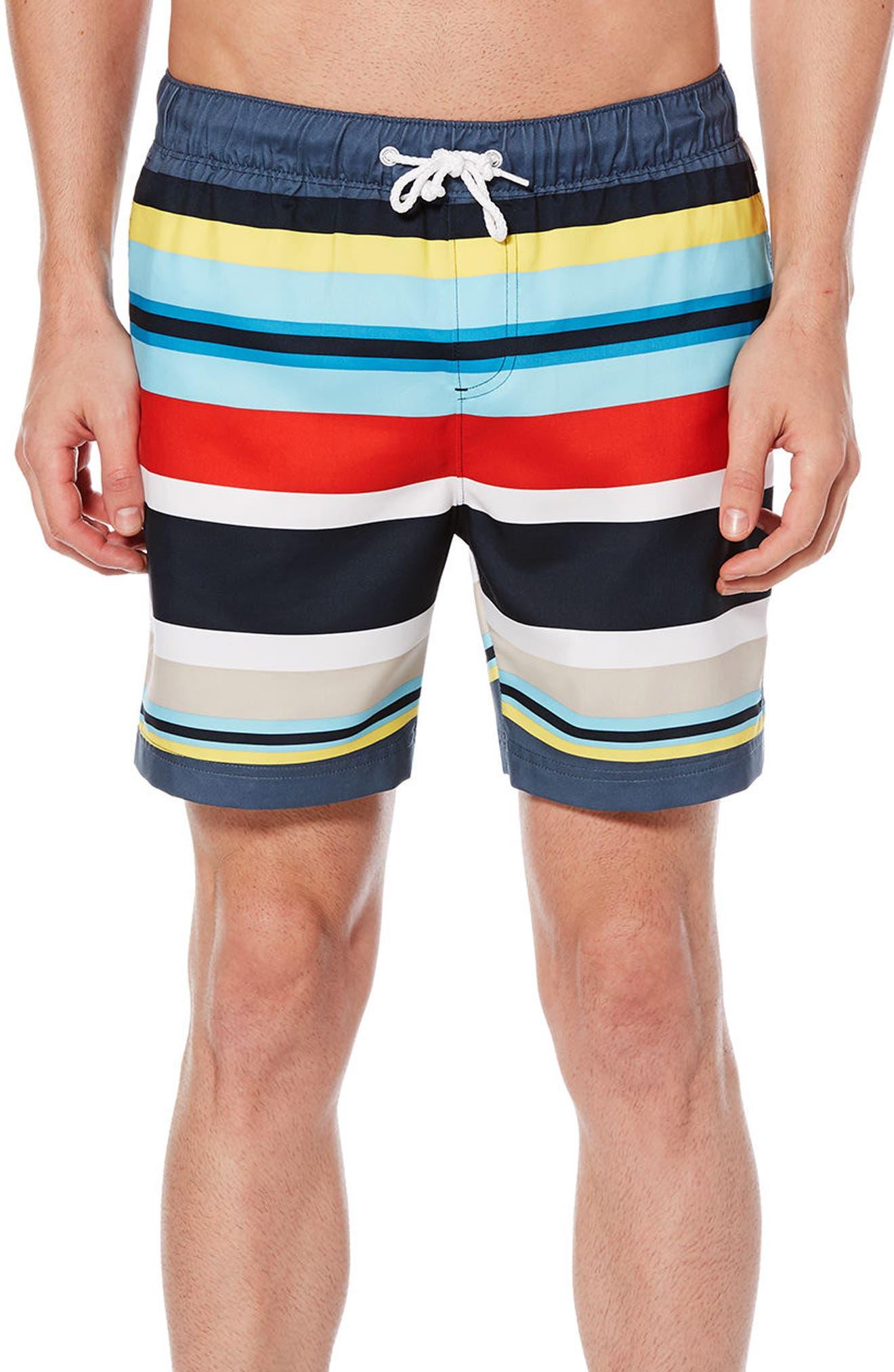 ORIGINAL PENGUIN,                             Large Stripe Swim Trunks,                             Main thumbnail 1, color,                             413