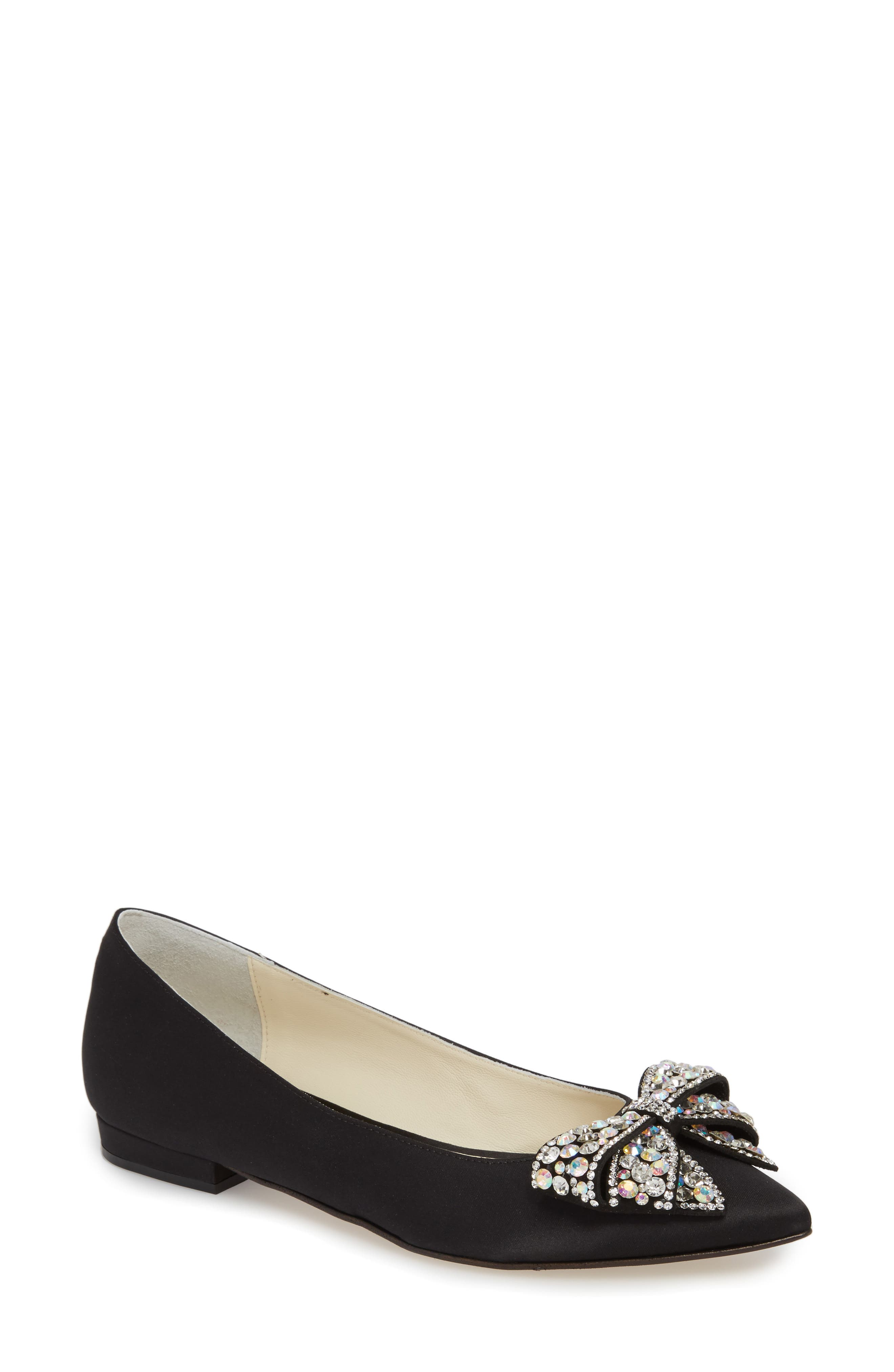 Milva Embellished Bow Pointy Toe Flat,                         Main,                         color, 001