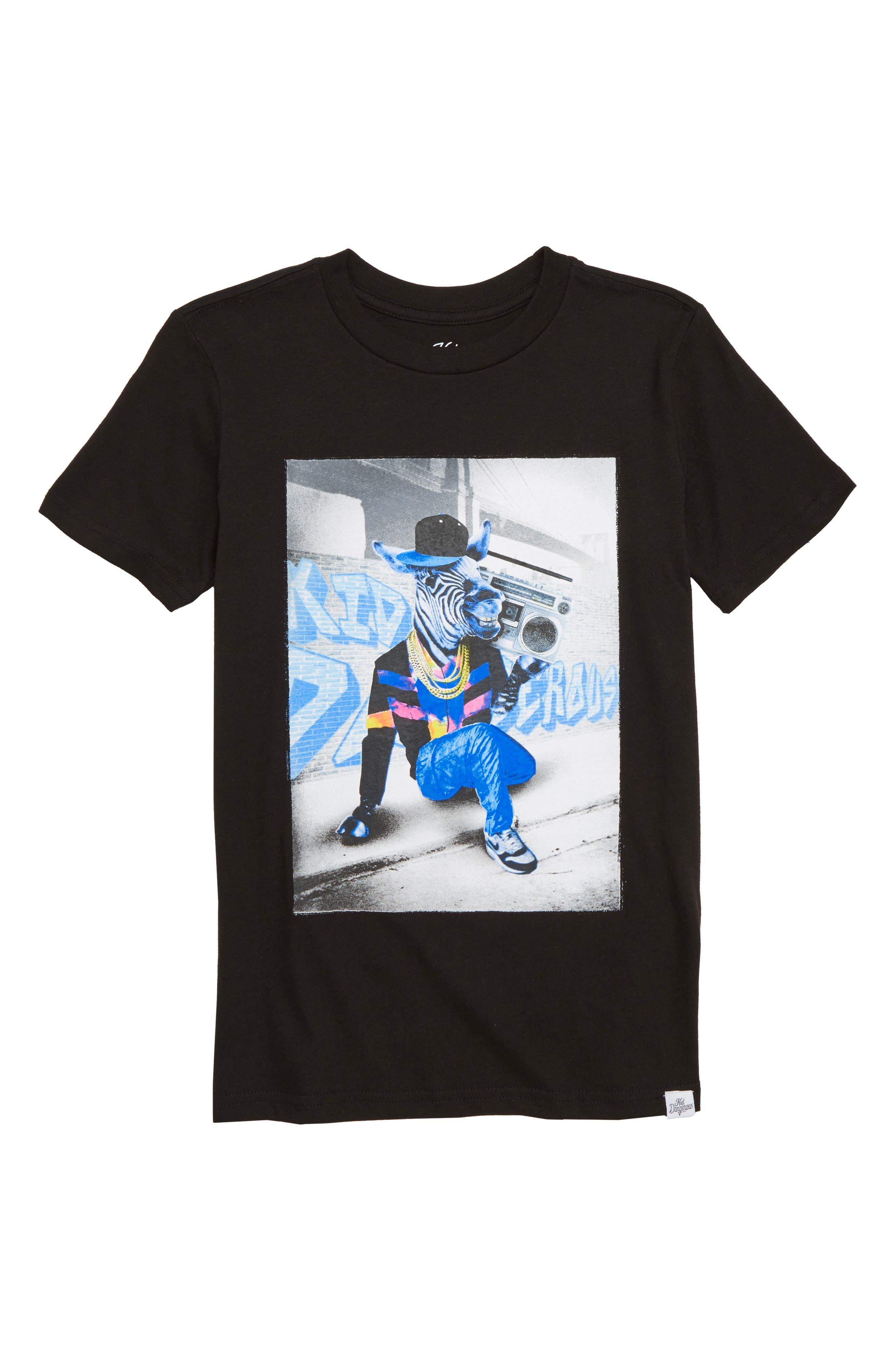 KID DANGEROUS Zebra Boombox Graphic T-Shirt, Main, color, 001