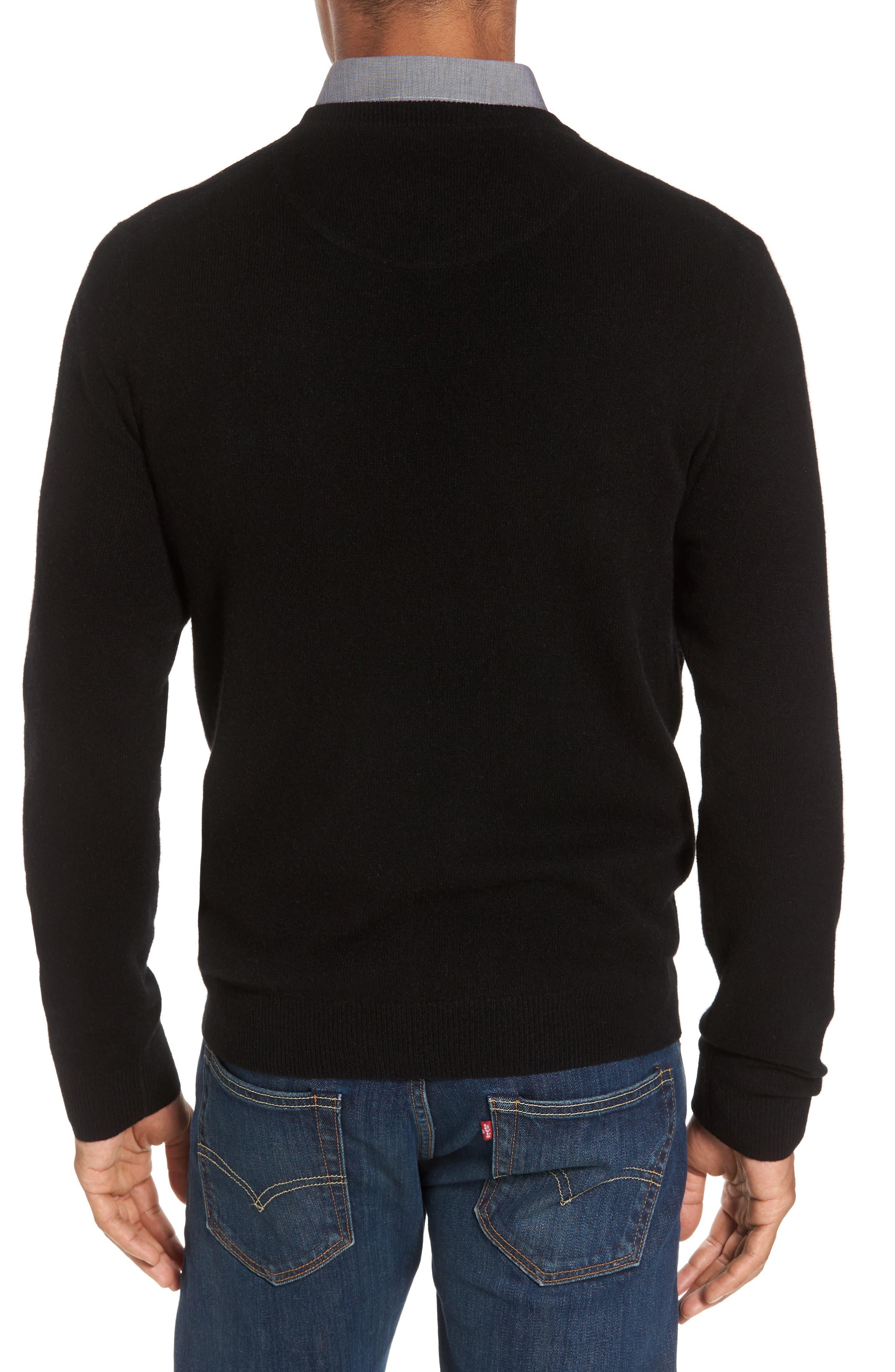 NORDSTROM MEN'S SHOP,                             Cashmere V-Neck Sweater,                             Alternate thumbnail 2, color,                             BLACK CAVIAR