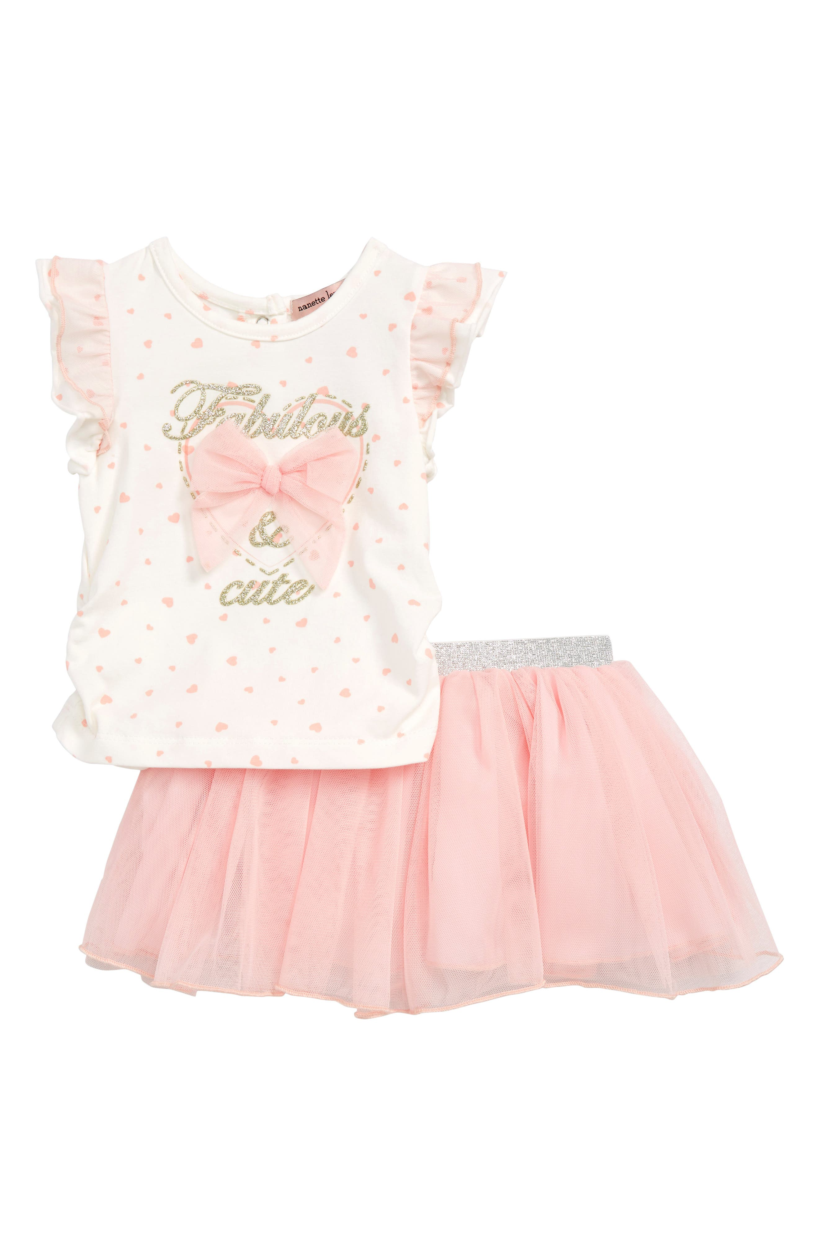 Bow Top & Tutu Skirt Set,                         Main,                         color, 900