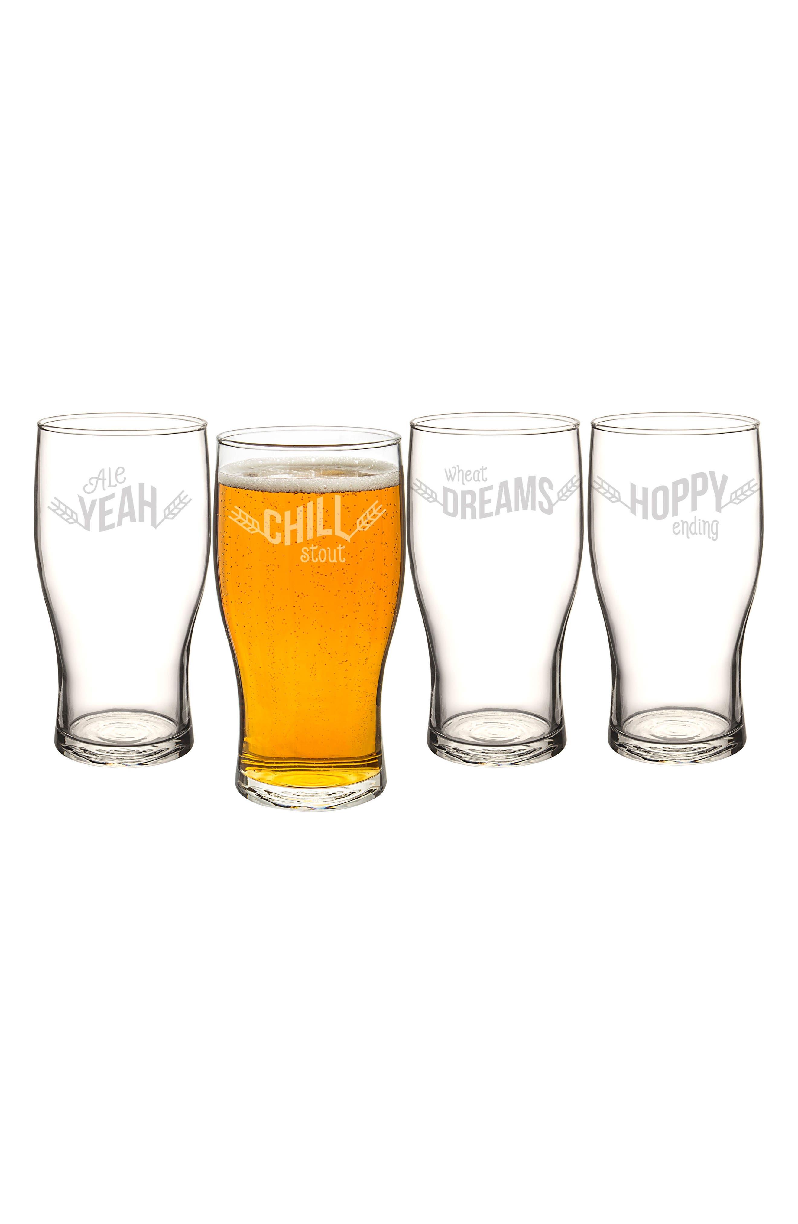 Beer Pun Set of 4 Pilsner Glasses,                             Alternate thumbnail 3, color,                             100