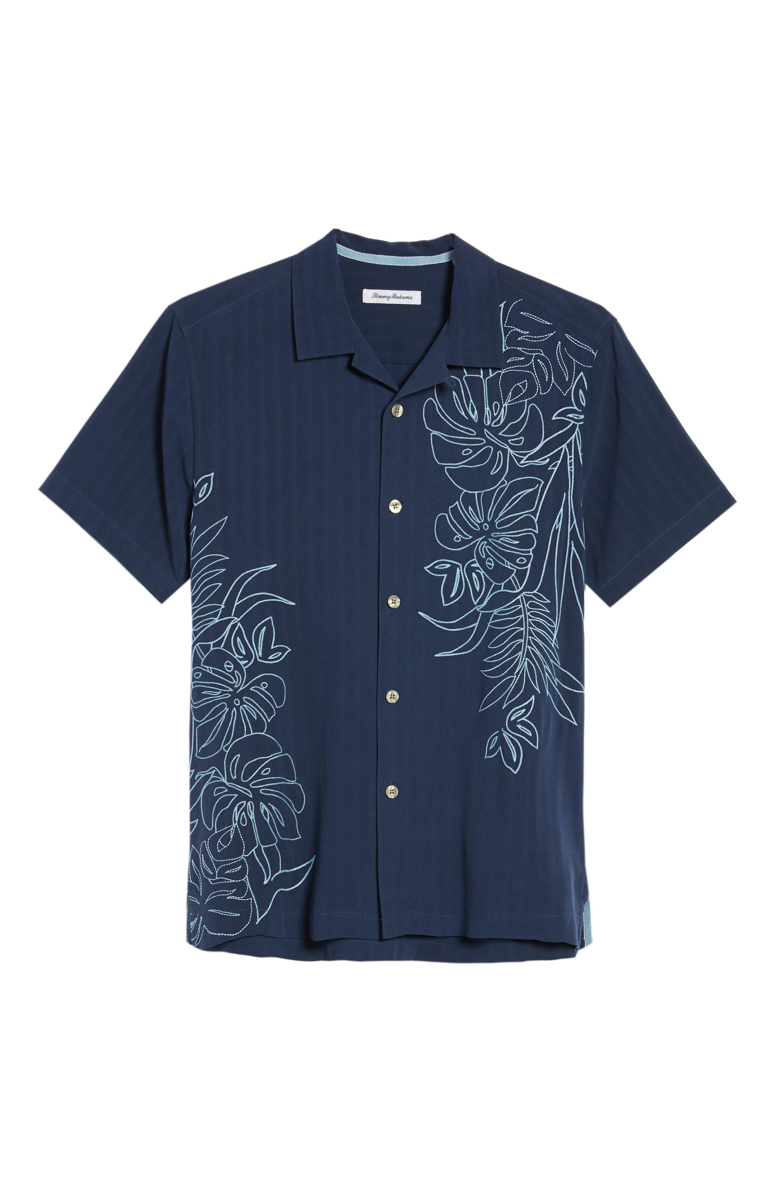 Playa Palmas Silk Camp Shirt,                             Alternate thumbnail 6, color,                             OCEAN DEEP