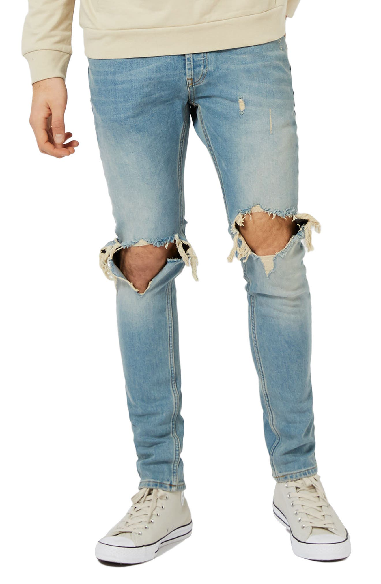 Ripped Stretch Skinny Jeans,                             Main thumbnail 1, color,                             LIGHT WASH DENIM