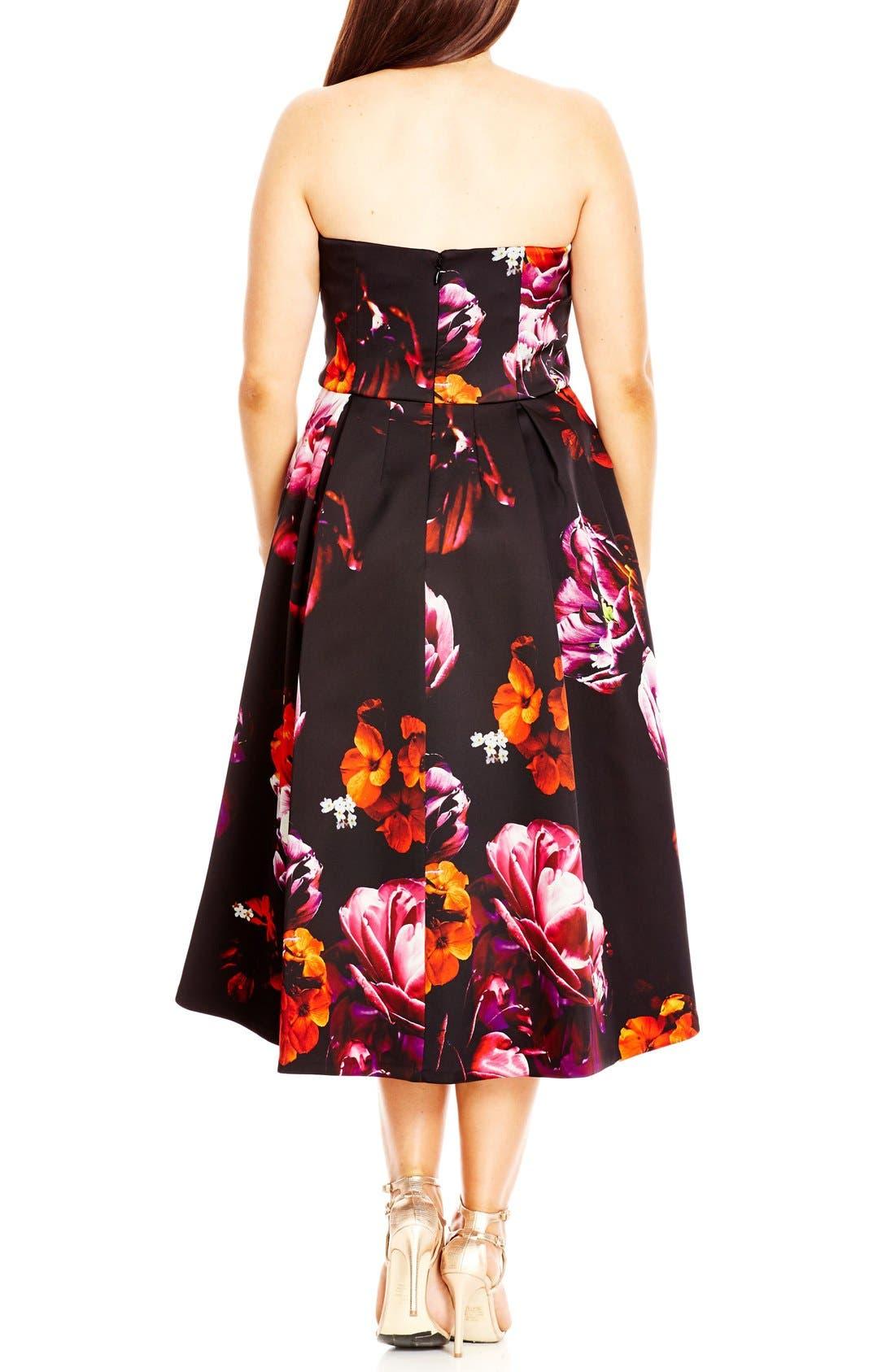 'Floral Magic' Floral Print Strapless High/Low Dress,                             Alternate thumbnail 2, color,