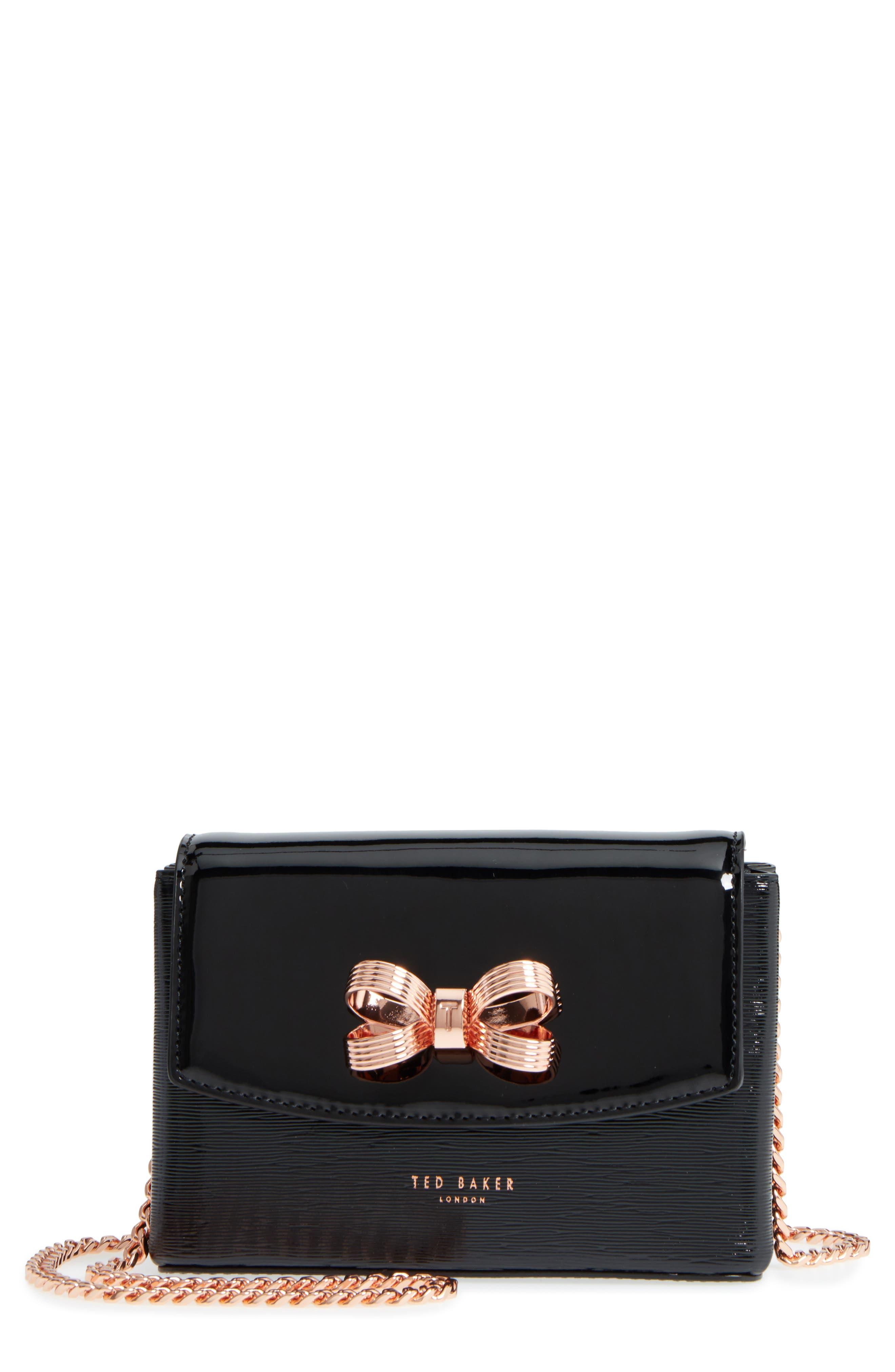 Loopa Bow Mini Leather Crossbody Bag,                         Main,                         color,
