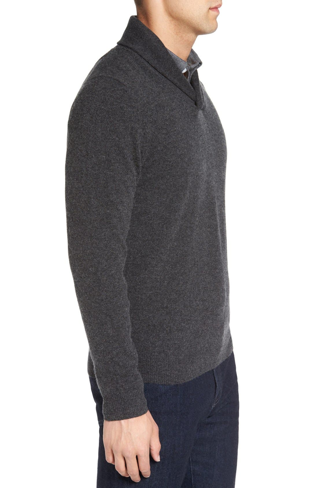 Shawl Collar Cashmere Pullover,                             Alternate thumbnail 4, color,                             GREY DARK CHARCOAL HEATHER