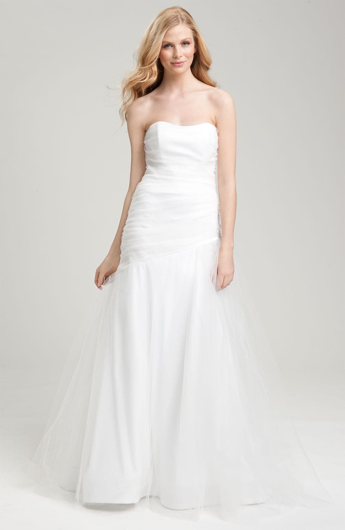 Draped Tulle Gown,                             Main thumbnail 1, color,                             100
