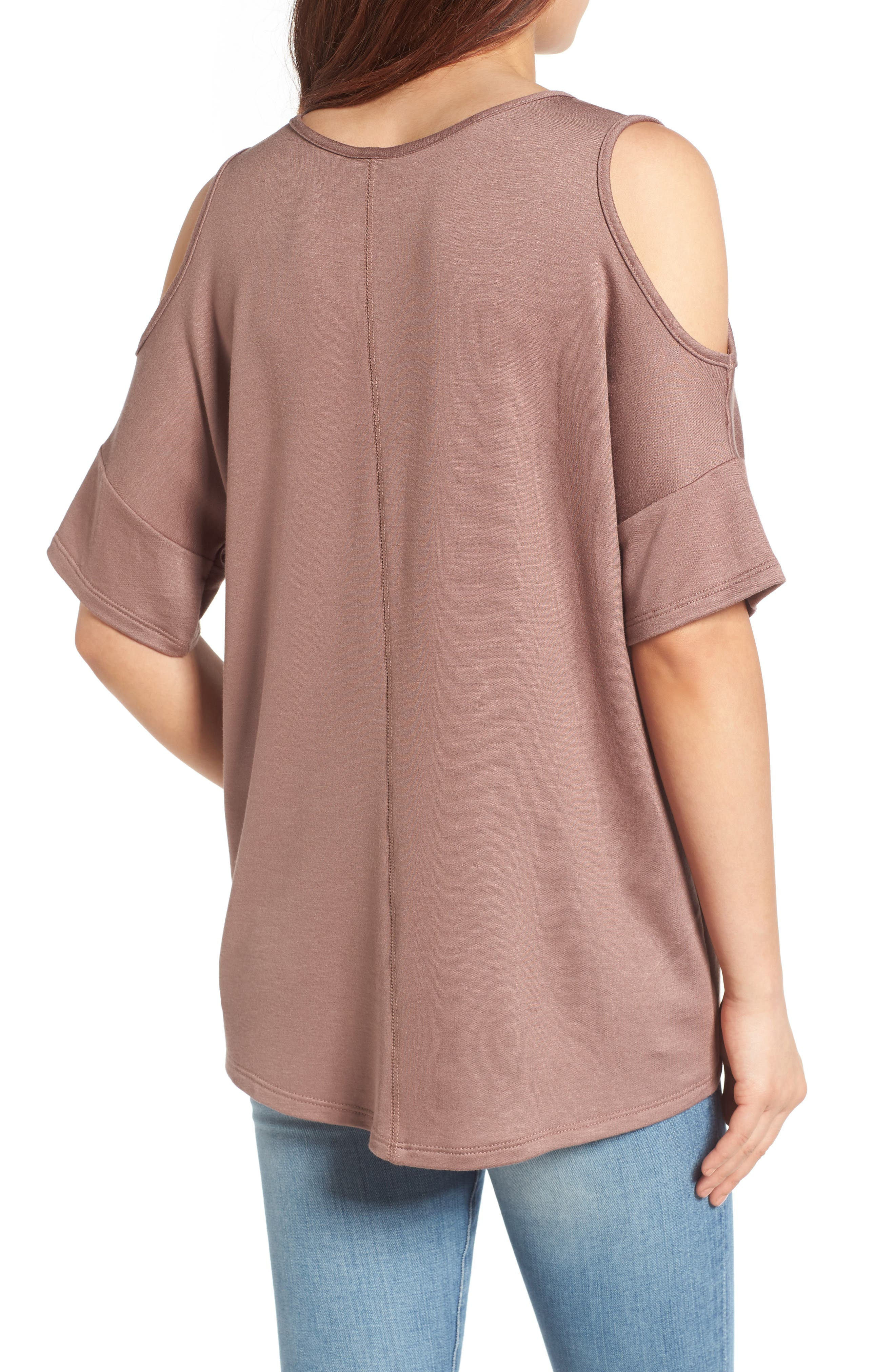 High/Low Cold Shoulder Sweatshirt,                             Alternate thumbnail 6, color,