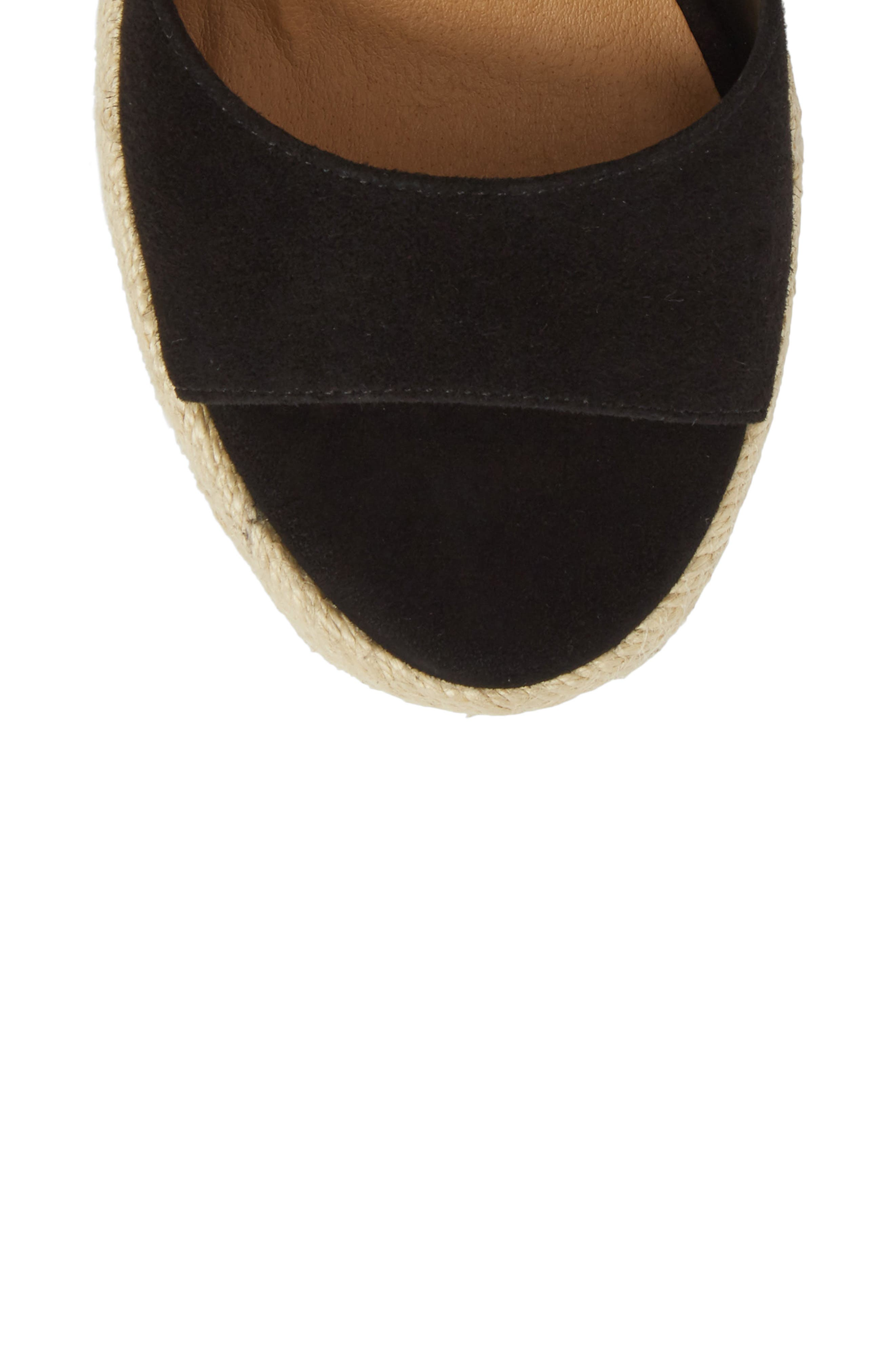 Barca Espadrille Wedge Sandal,                             Alternate thumbnail 5, color,                             BLACK SUEDE