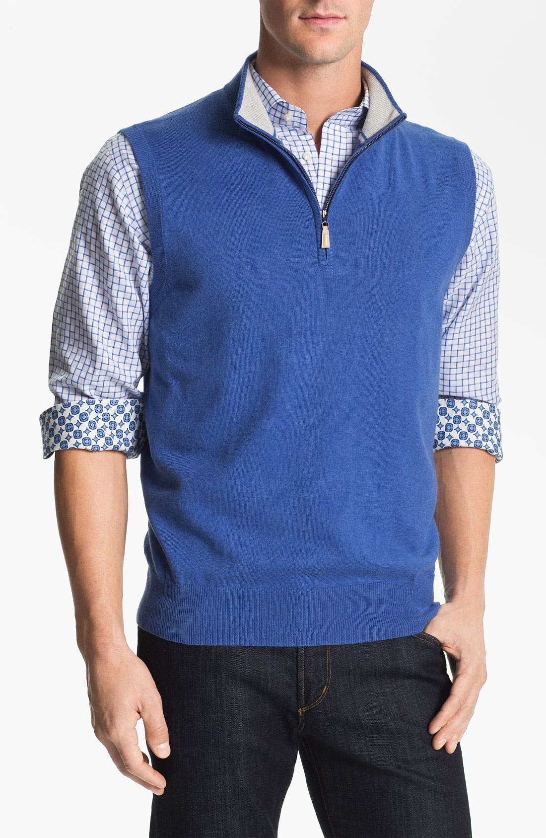 Quarter Zip Cotton & Cashmere Sweater Vest, Main, color, 413