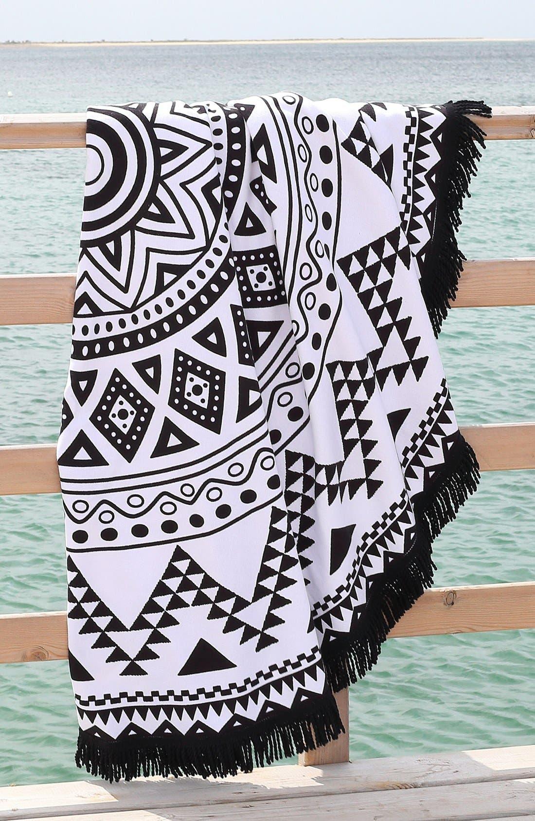 'Kilim' Turkish Pestemal Round Beach Towel,                             Alternate thumbnail 4, color,                             BLACK/ WHITE