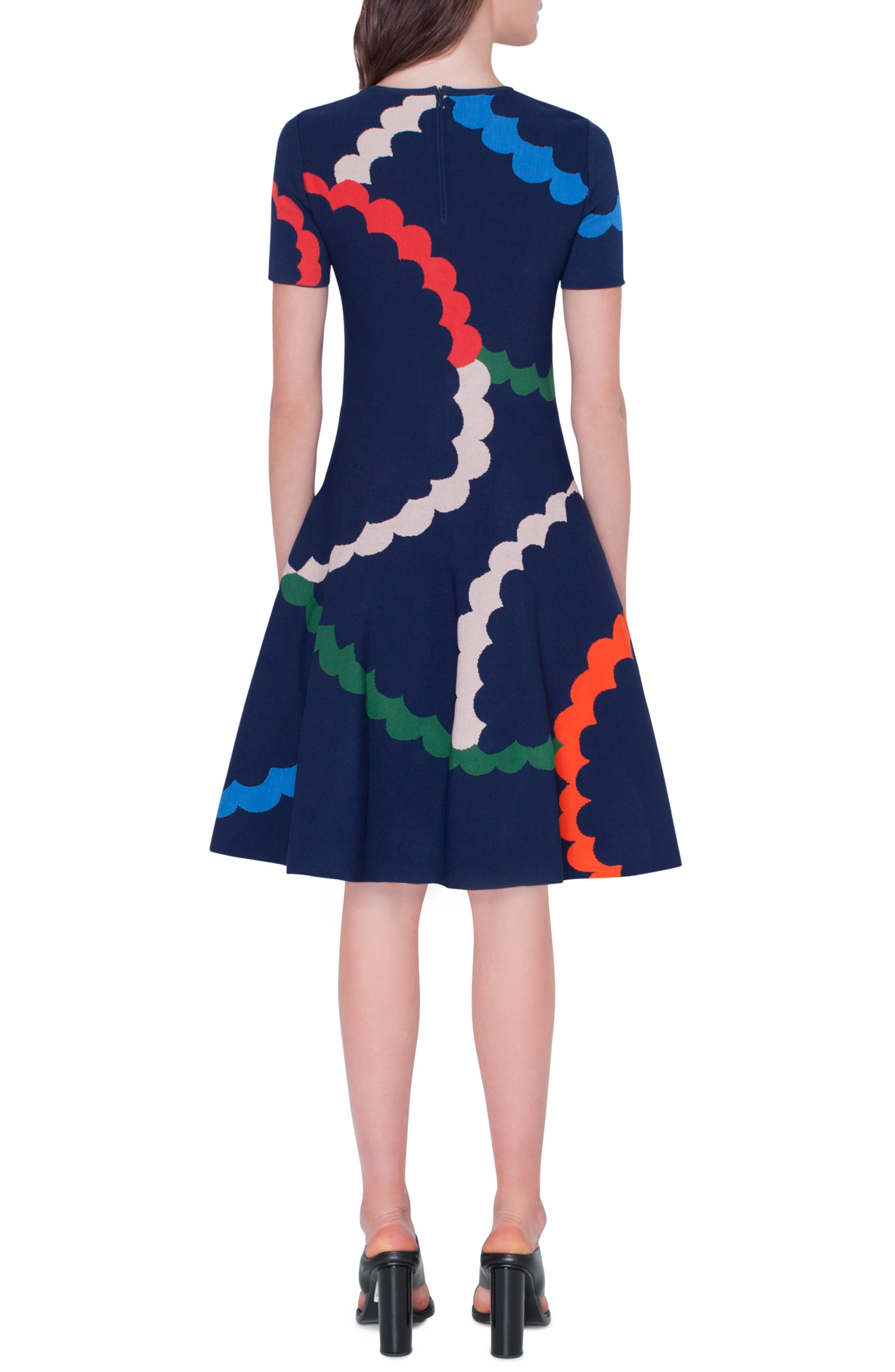 Memphis Fit & Flare Jacquard Dress,                             Alternate thumbnail 2, color,                             BLU MARE-MULTICOLOR