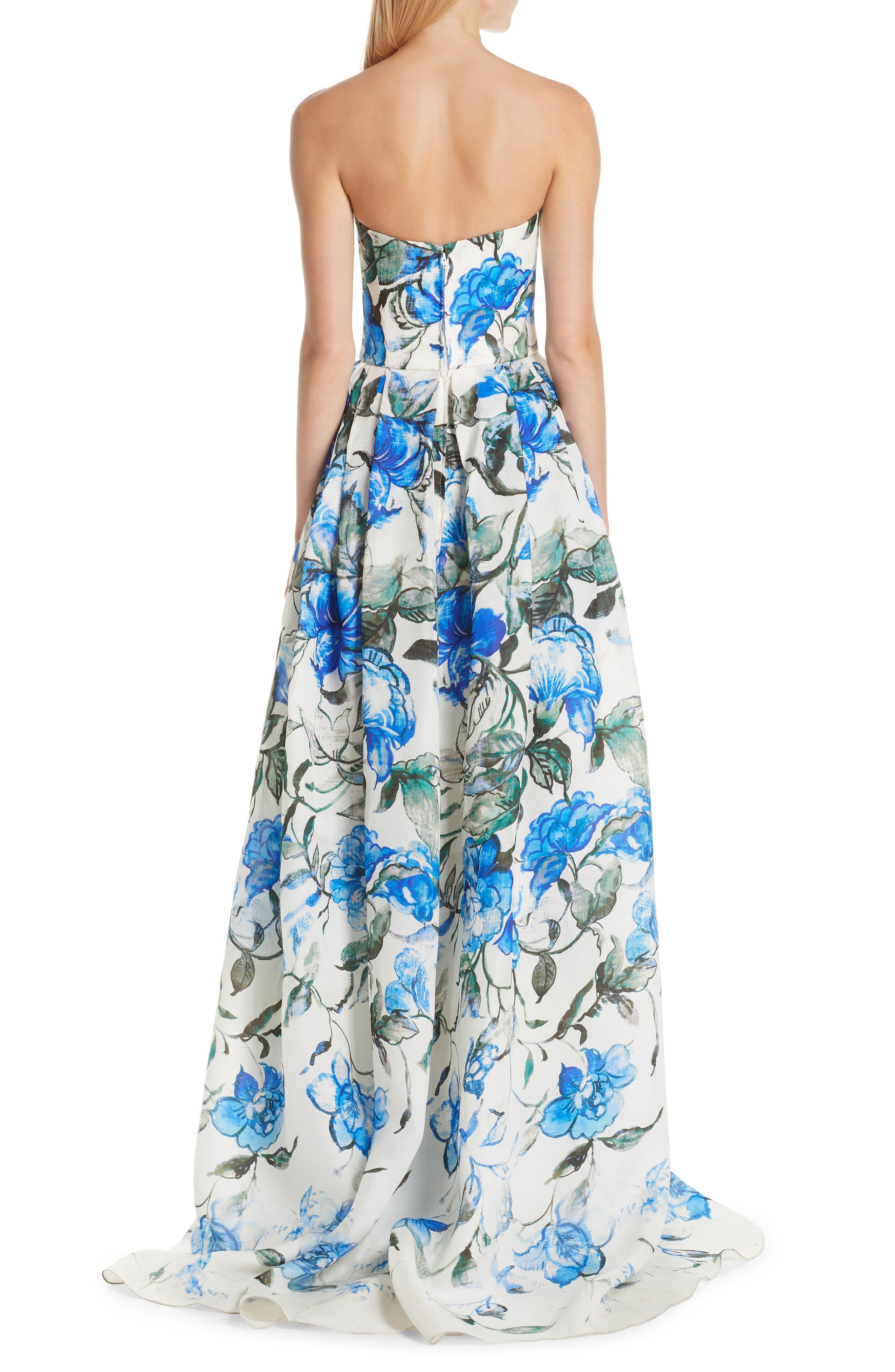 Floral Strapless Silk Evening Dress,                             Alternate thumbnail 2, color,                             PERSIAN BLUE MULTI