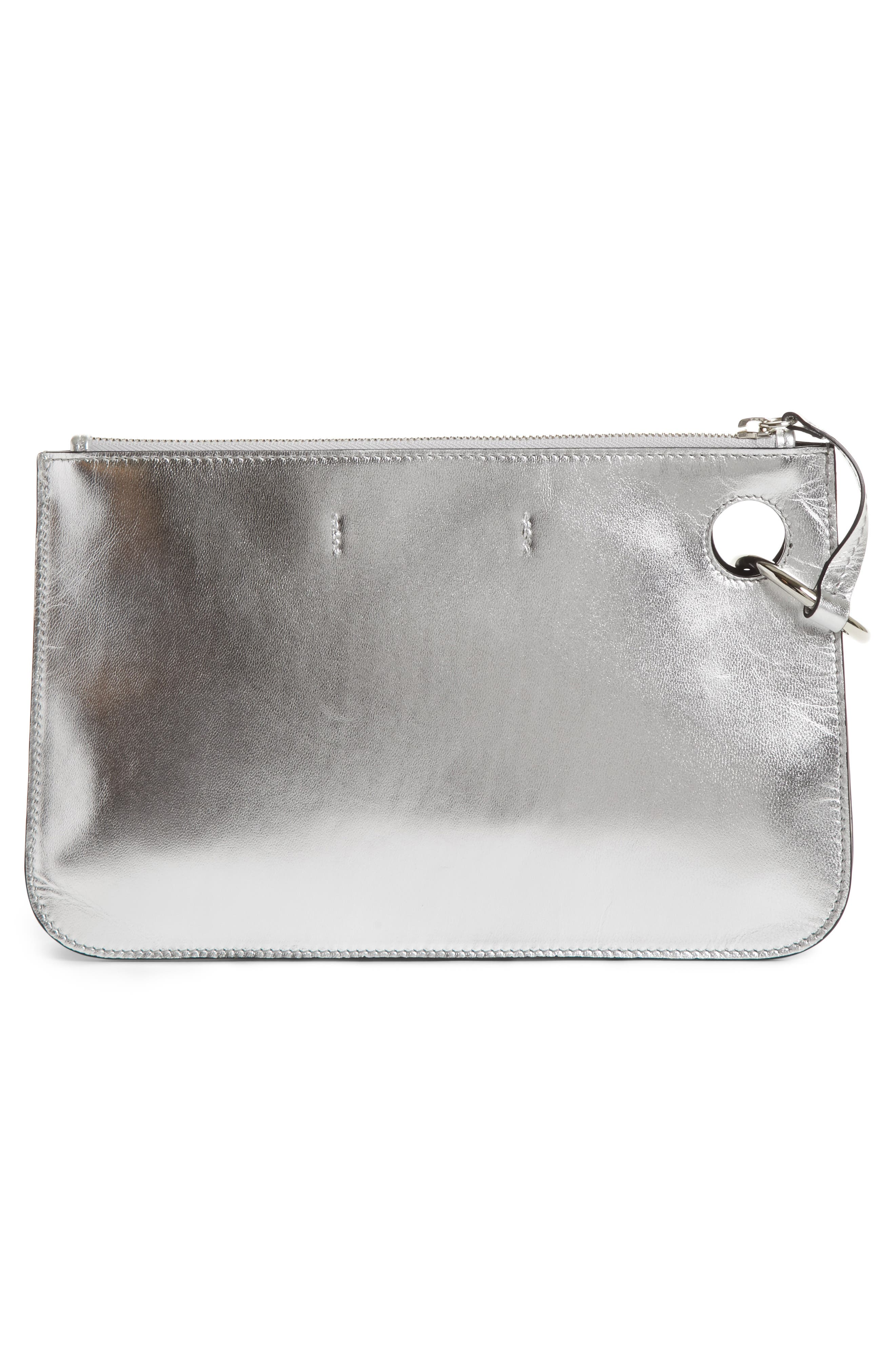 J.W.ANDERSON Pierce Metallic Leather Clutch,                             Alternate thumbnail 3, color,                             040