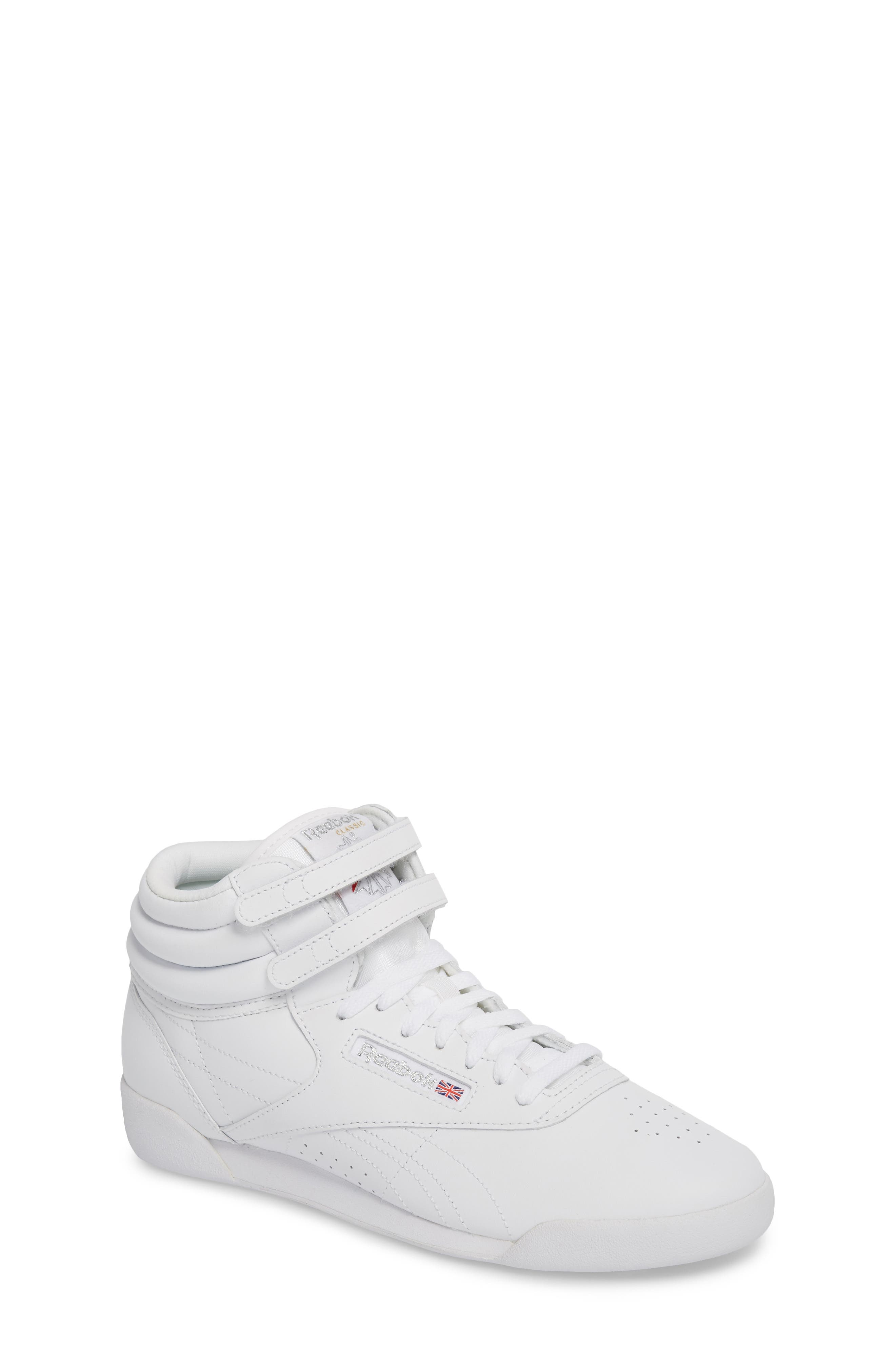 Freestyle Hi Sneaker,                             Main thumbnail 1, color,                             WHITE/ SILVER