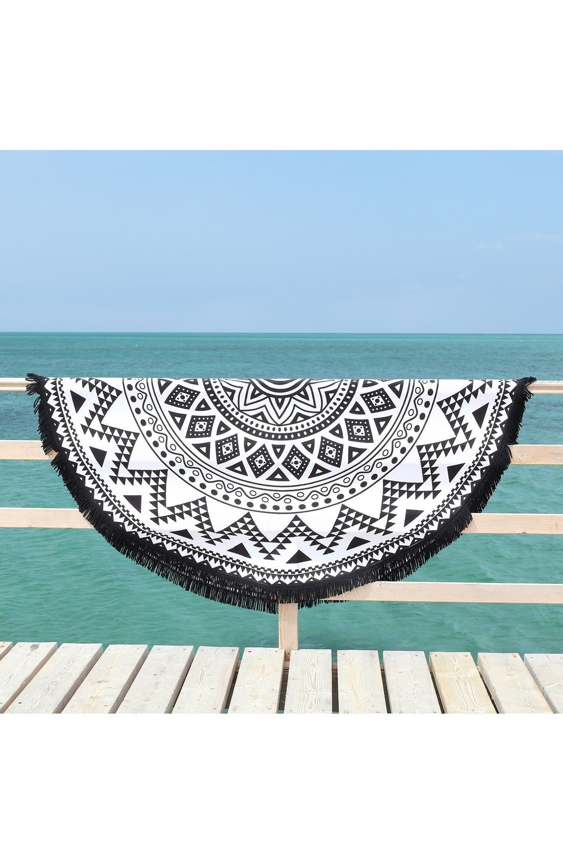 'Kilim' Turkish Pestemal Round Beach Towel,                             Alternate thumbnail 3, color,                             BLACK/ WHITE