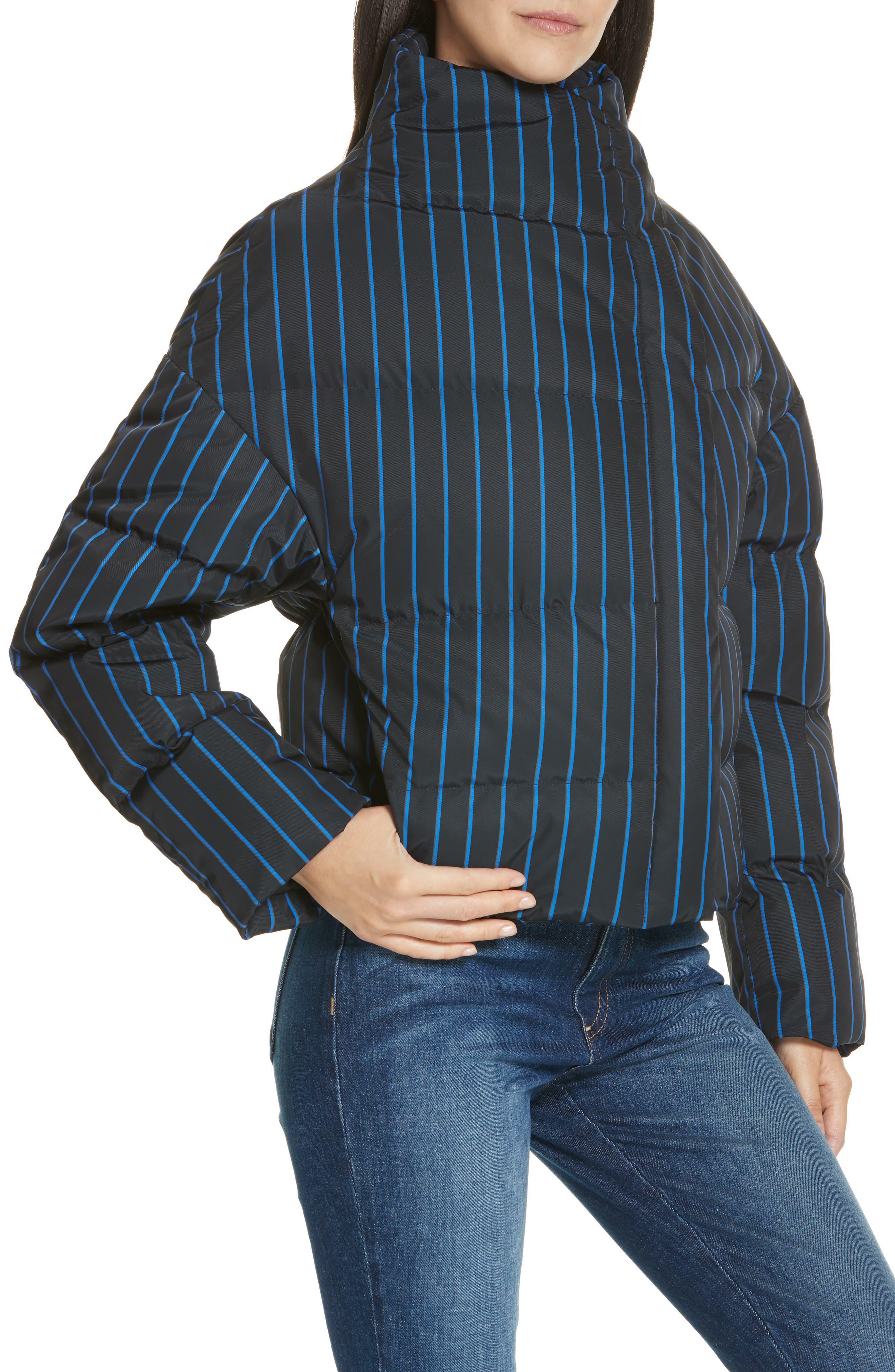 Asymmetrical Stripe Puffer Jacket,                             Alternate thumbnail 4, color,                             BLACK MULTI