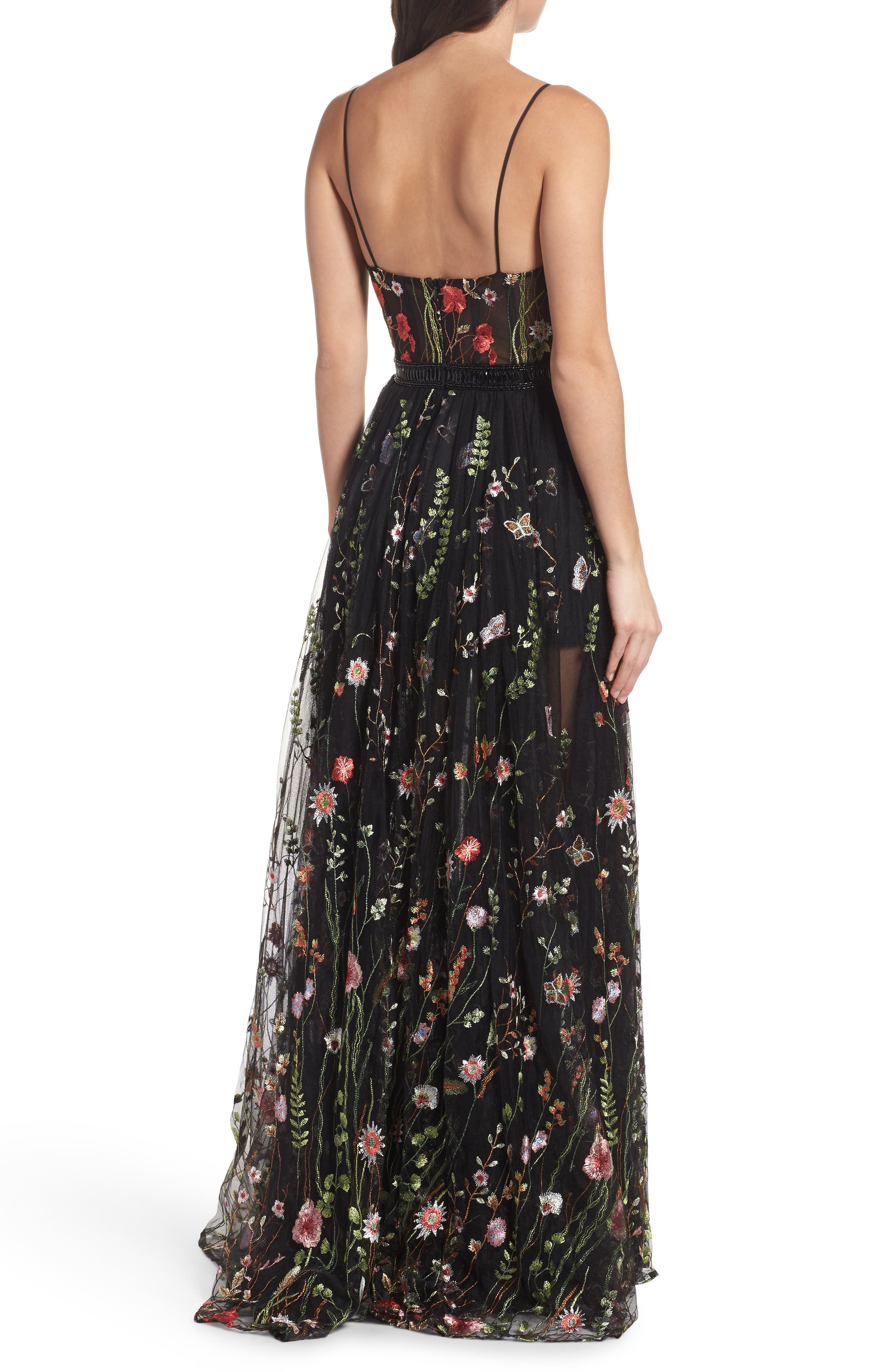 Embroidered Bustier Gown,                             Alternate thumbnail 2, color,                             BLACK/MULTI