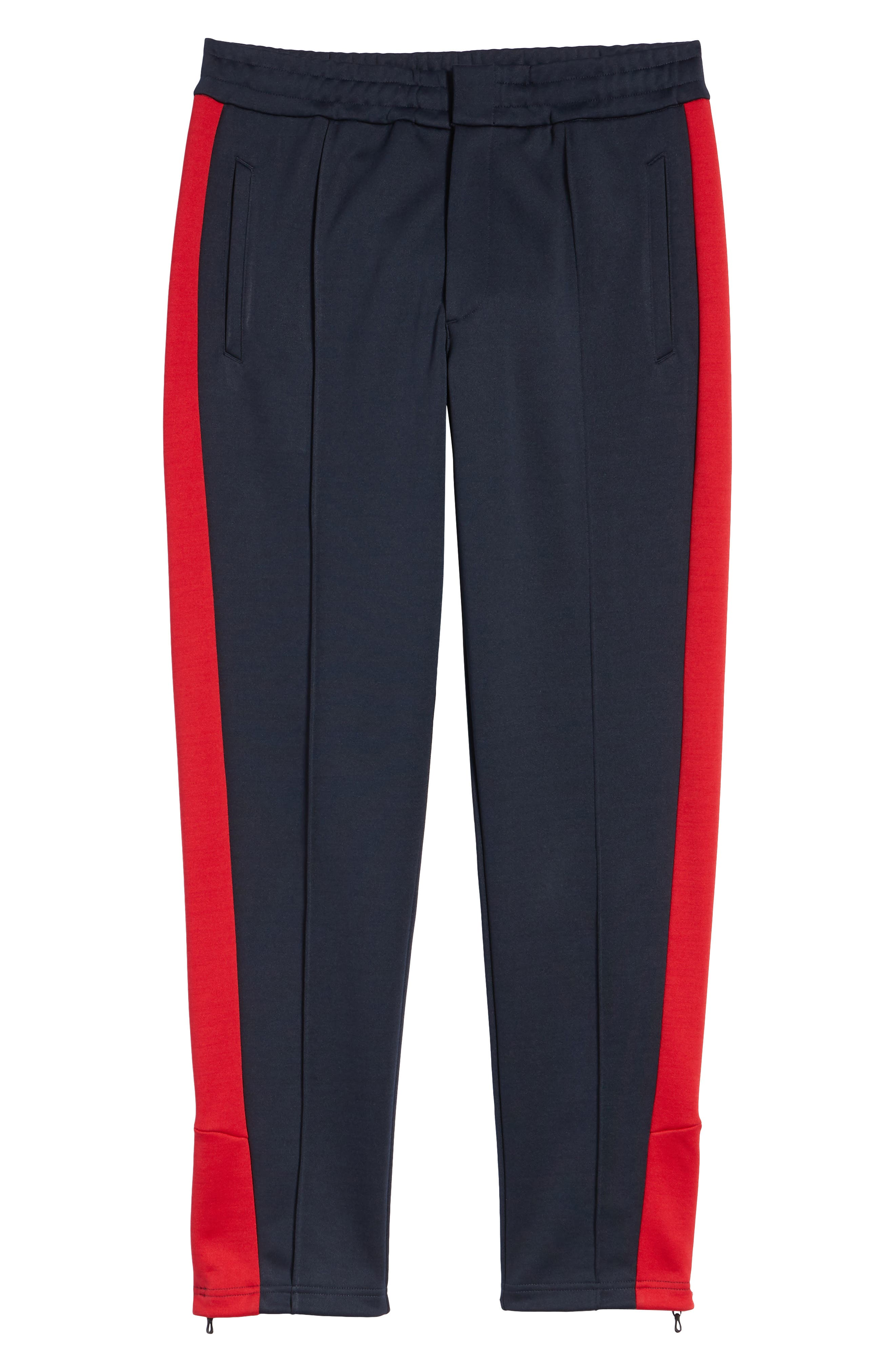 Club Slim Fit Track Pants,                             Alternate thumbnail 6, color,                             NAVY/ RED