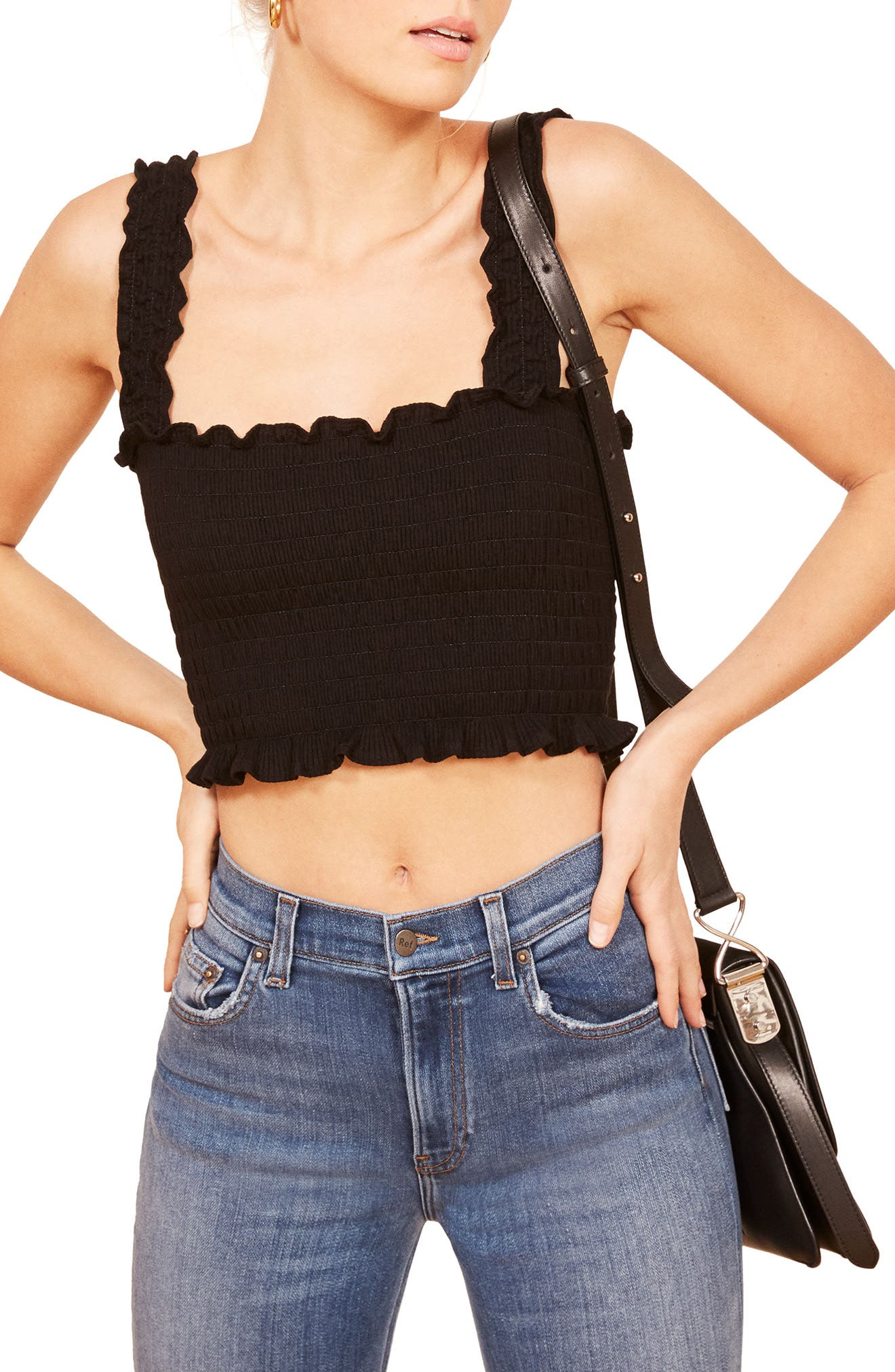 Leonore Smock Crop Top,                             Main thumbnail 1, color,                             BLACK