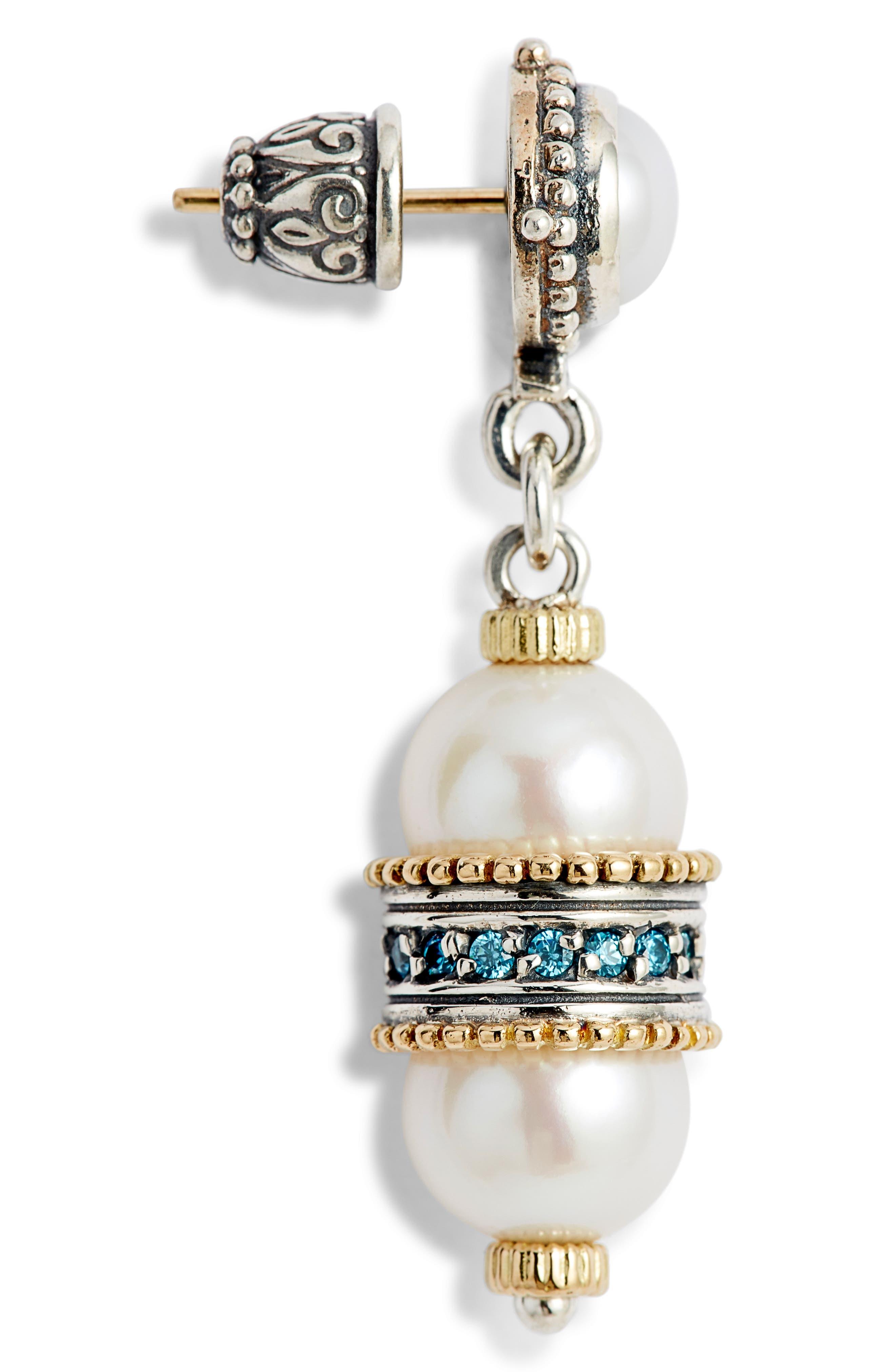 Thalia Double Pearl Drop Earrings,                             Alternate thumbnail 4, color,                             SILVER/ PEARL