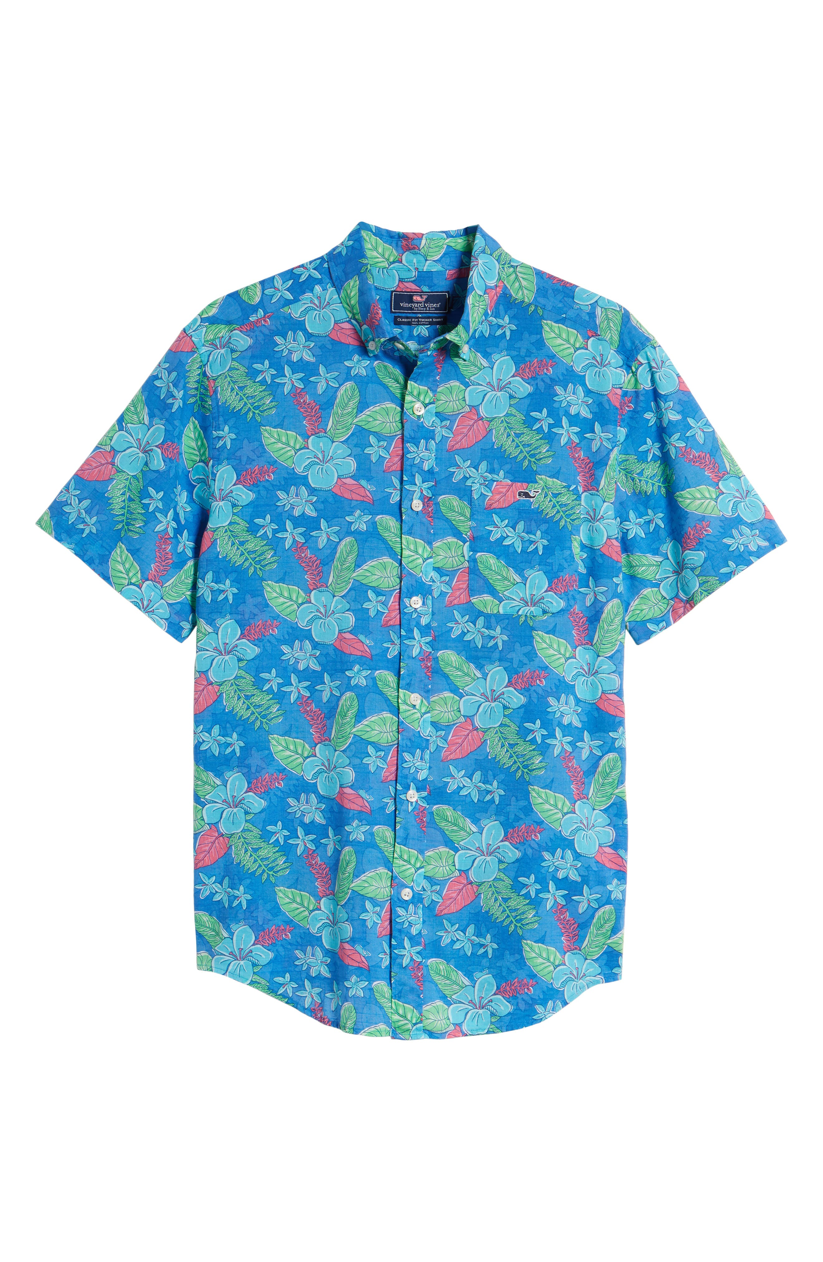 Cay Tucker Classic Fit Floral Sport Shirt,                             Alternate thumbnail 6, color,                             HULL BLUE
