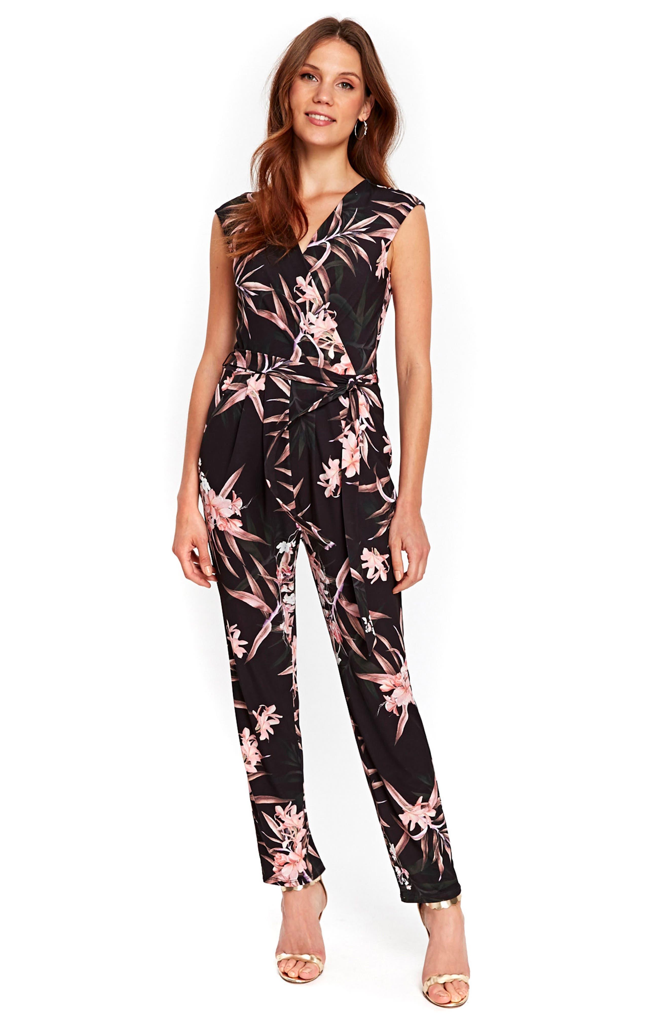 Fern Floral Jersey Jumpsuit,                             Alternate thumbnail 5, color,                             001