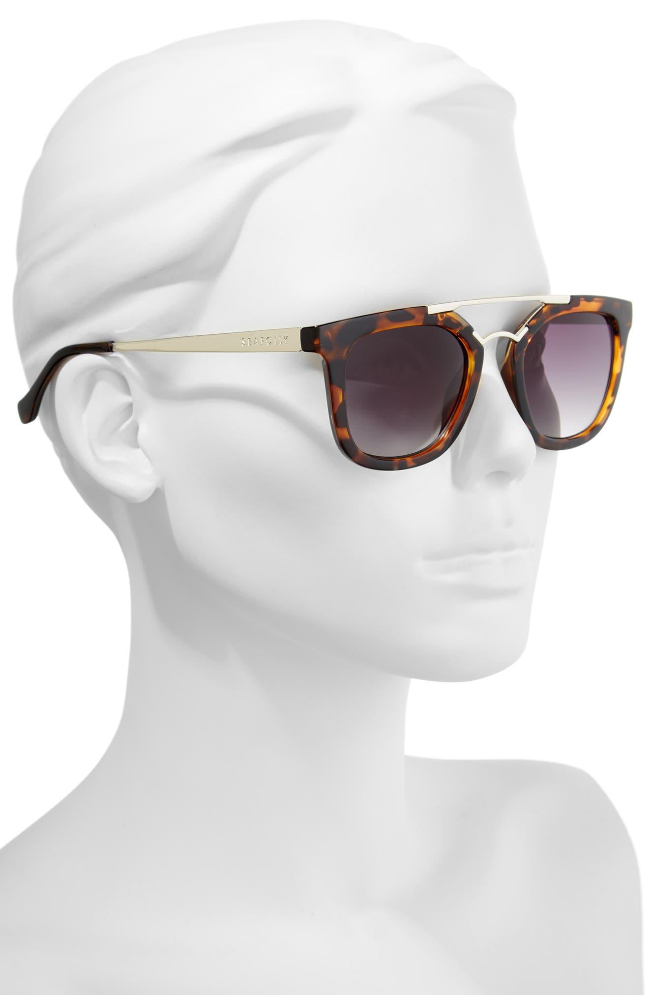 Del Mar 49mm Tortiseshell Aviator Sunglasses,                             Alternate thumbnail 2, color,                             DARK TORT