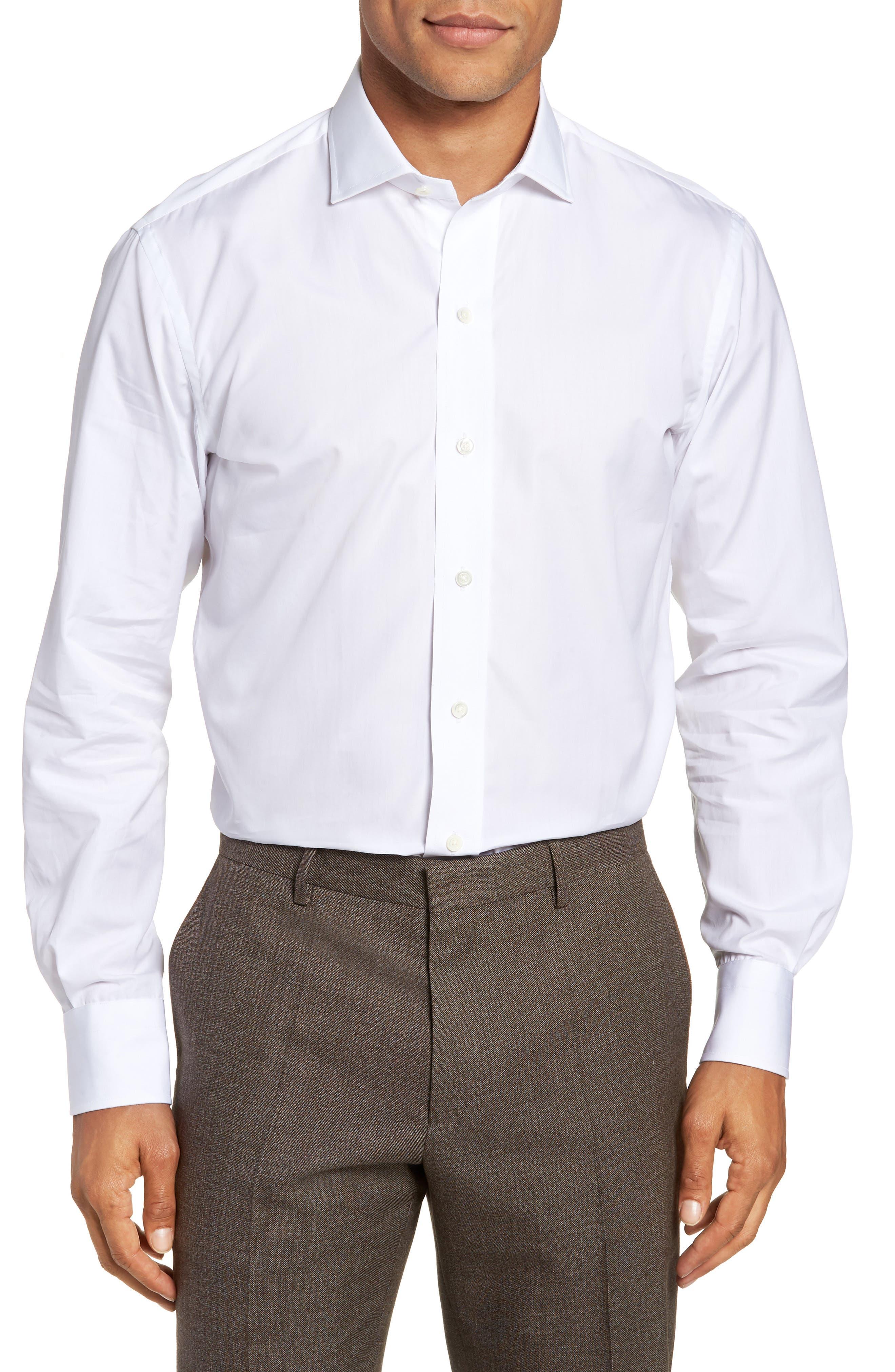 LEDBURY Slim Fit Poplin Dress Shirt in White