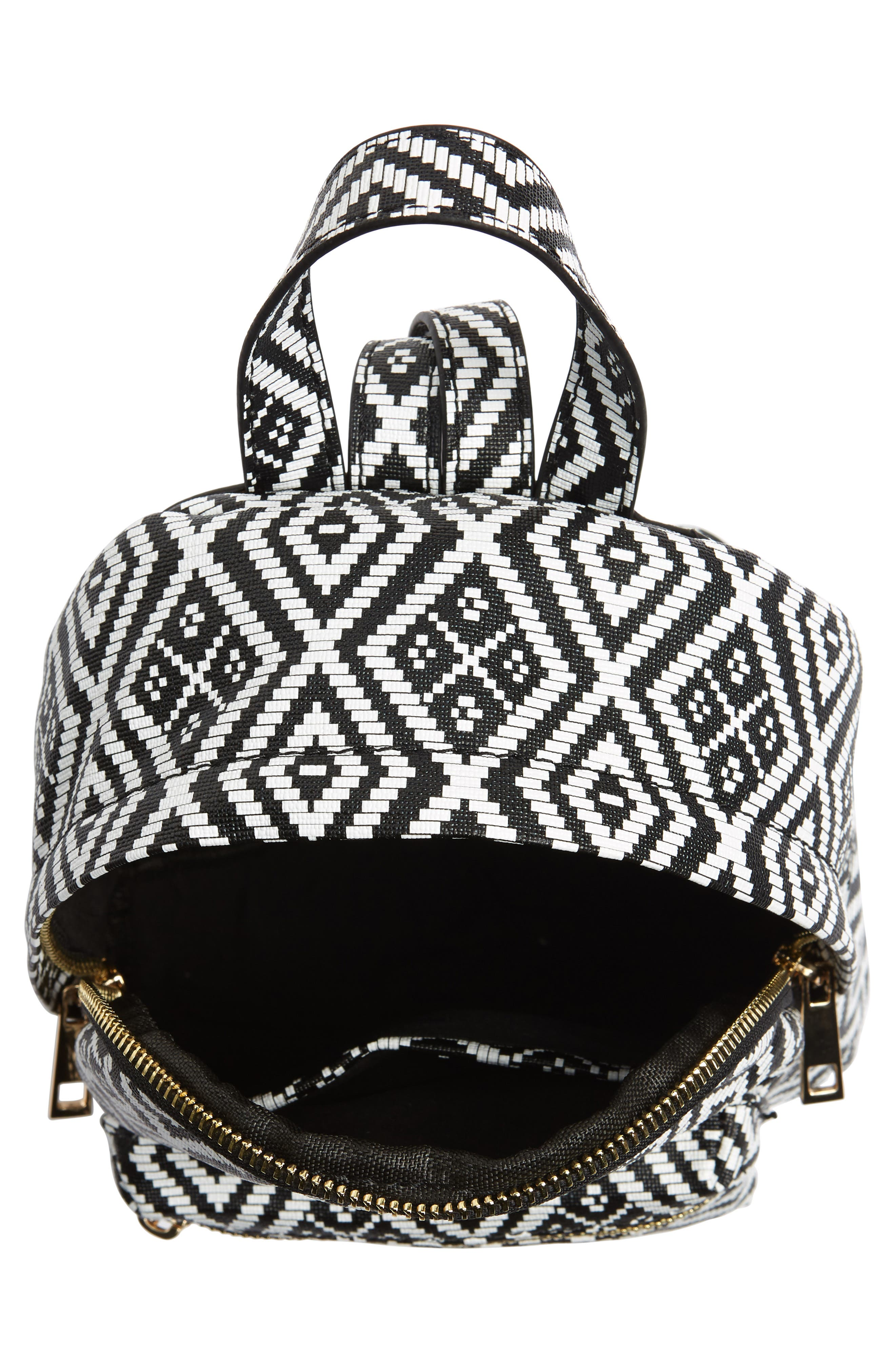 Weave Pattern Faux Leather Mini Backpack,                             Alternate thumbnail 4, color,                             001