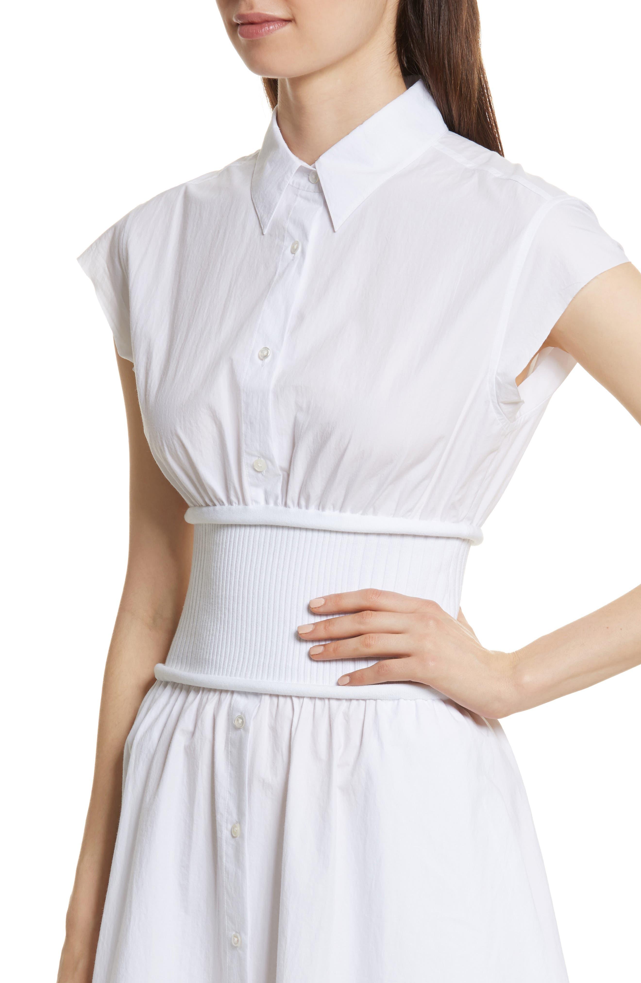 Cotton Poplin Shirtdress,                             Alternate thumbnail 4, color,                             100
