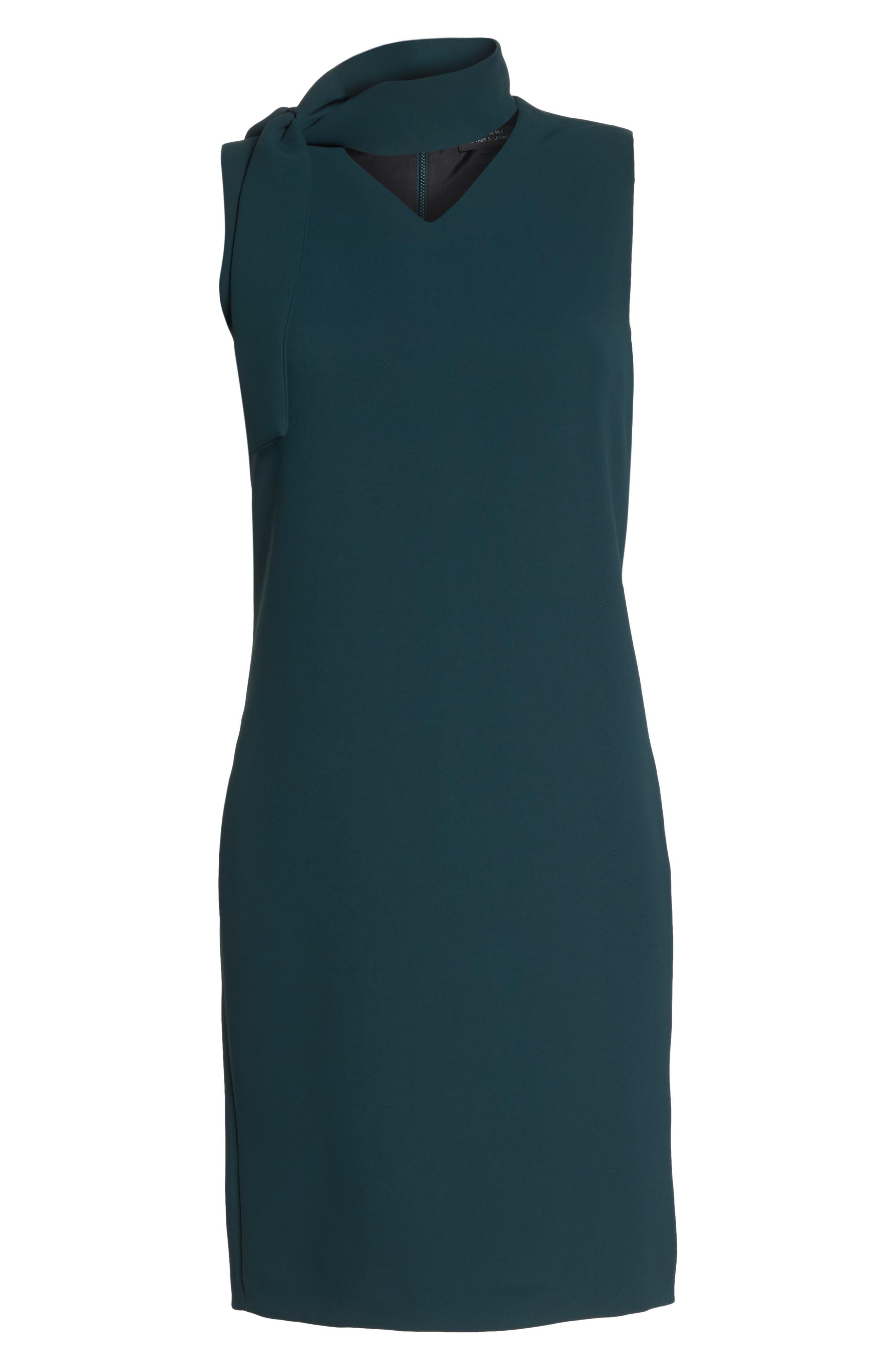 Sleeveless Choker Neck Crepe Shift Dress,                             Alternate thumbnail 7, color,                             BOTTLE GREEN