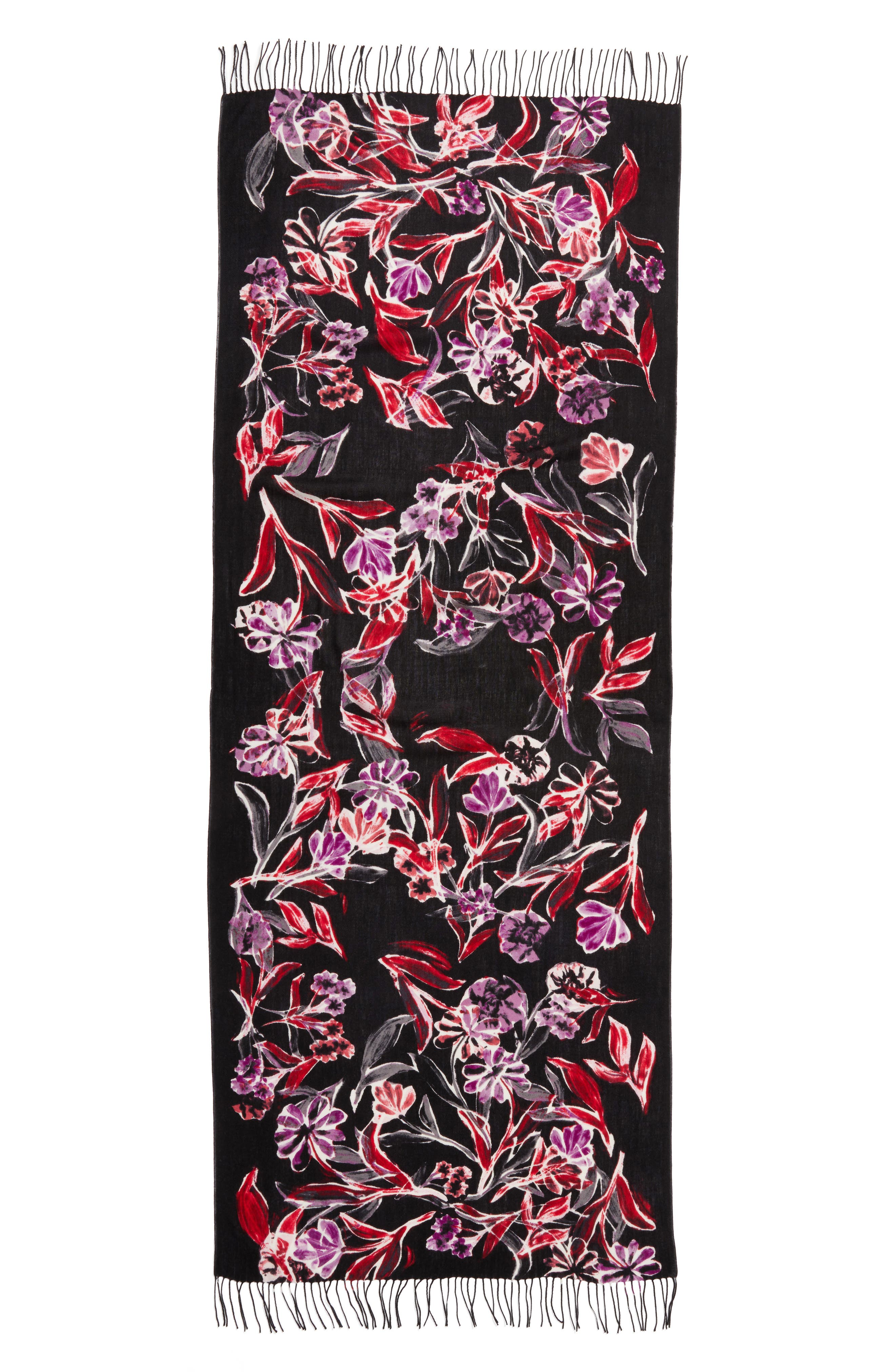 Pressed Flowers Tissue Weight Wool & Cashmere Scarf,                             Alternate thumbnail 7, color,