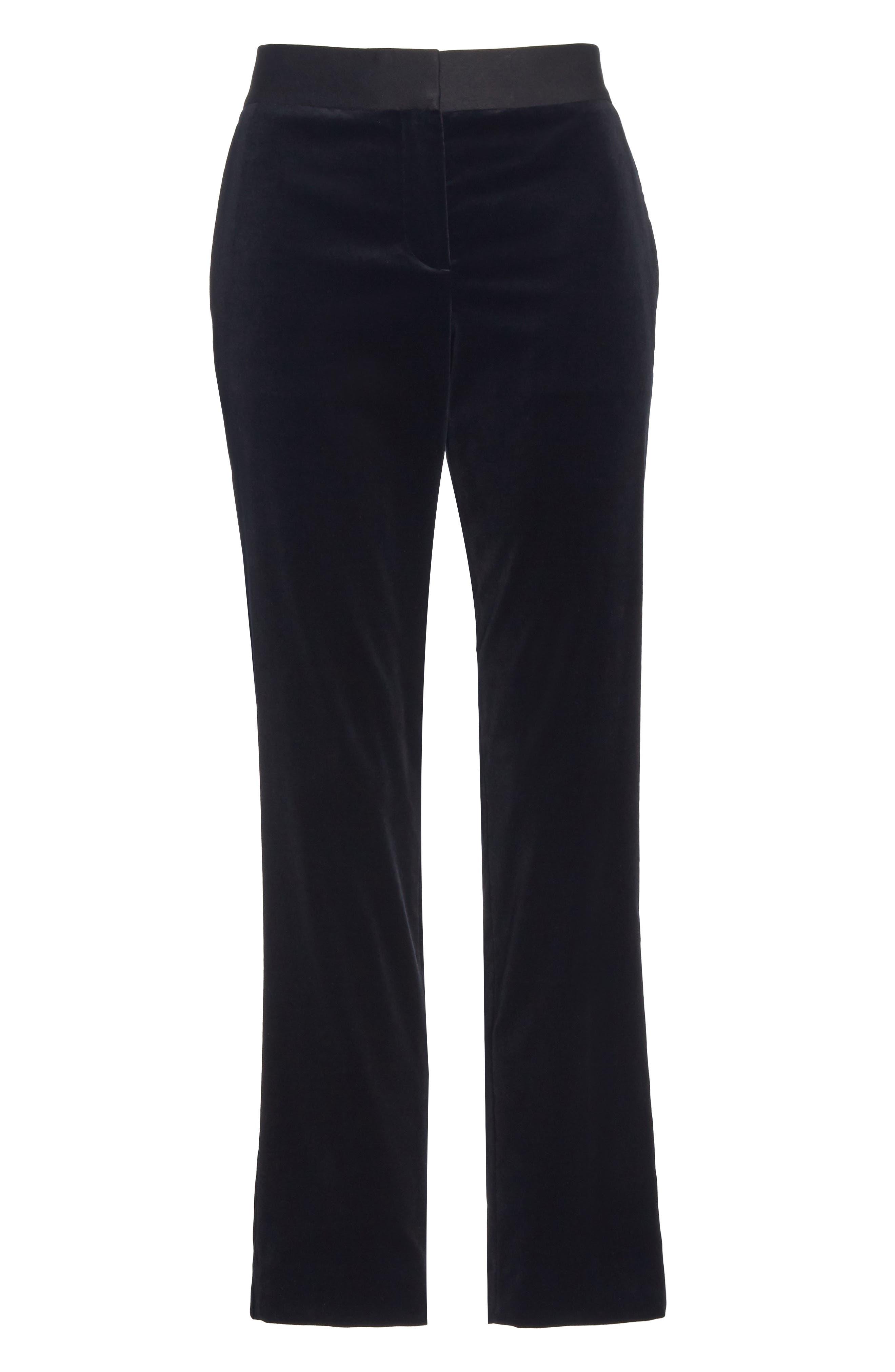 Stretch Cotton Velvet Trousers,                             Alternate thumbnail 6, color,                             001