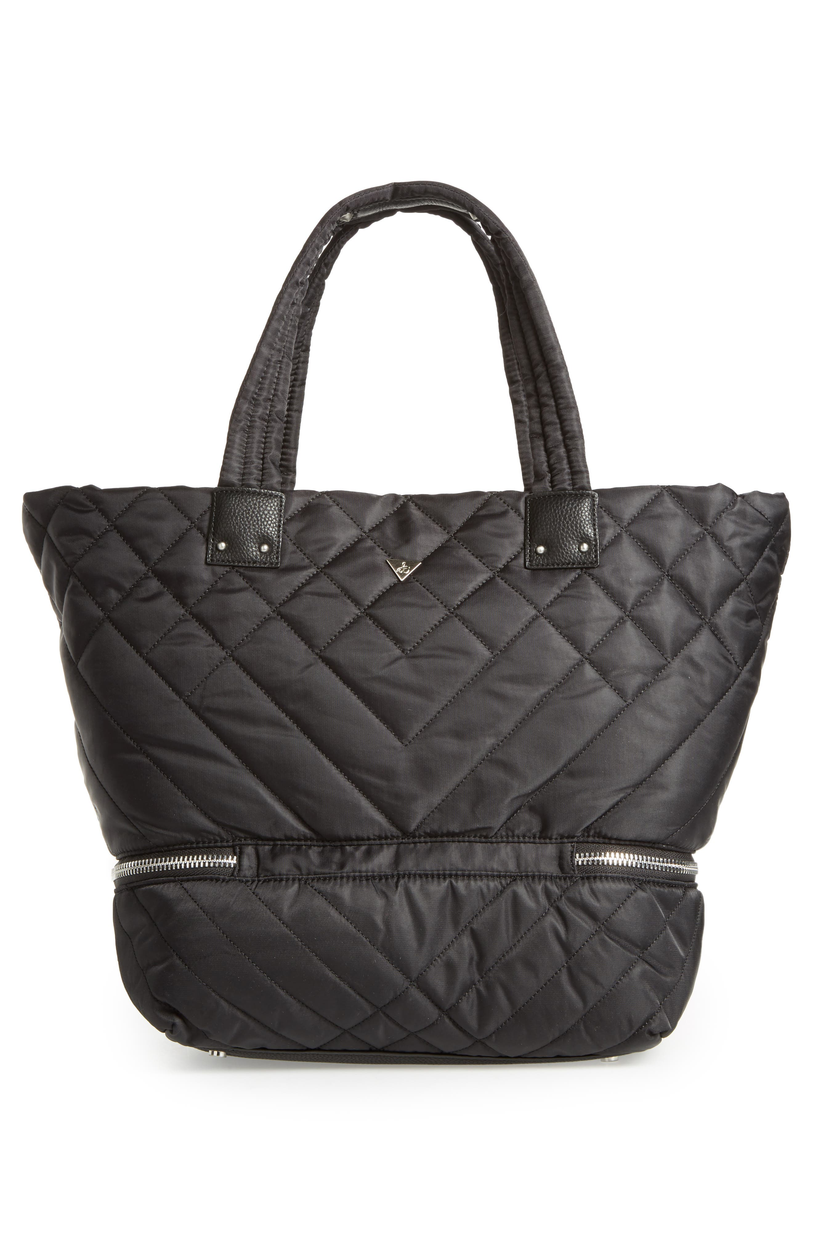 Arianna Quilted Nylon Tote,                             Alternate thumbnail 3, color,                             001