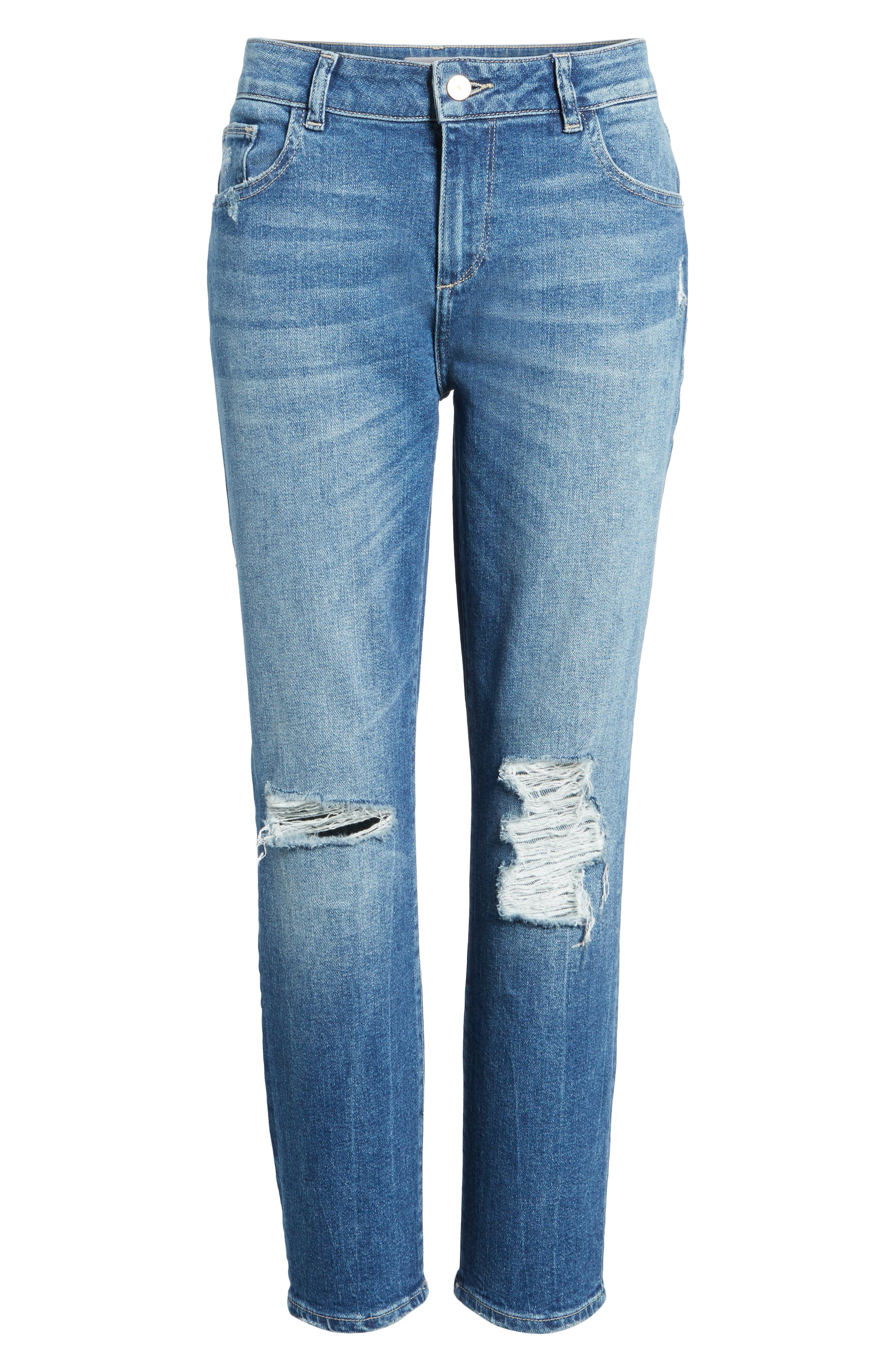 Stevie Distressed Crop Slim Boyfriend Jeans,                             Alternate thumbnail 6, color,                             REBEL