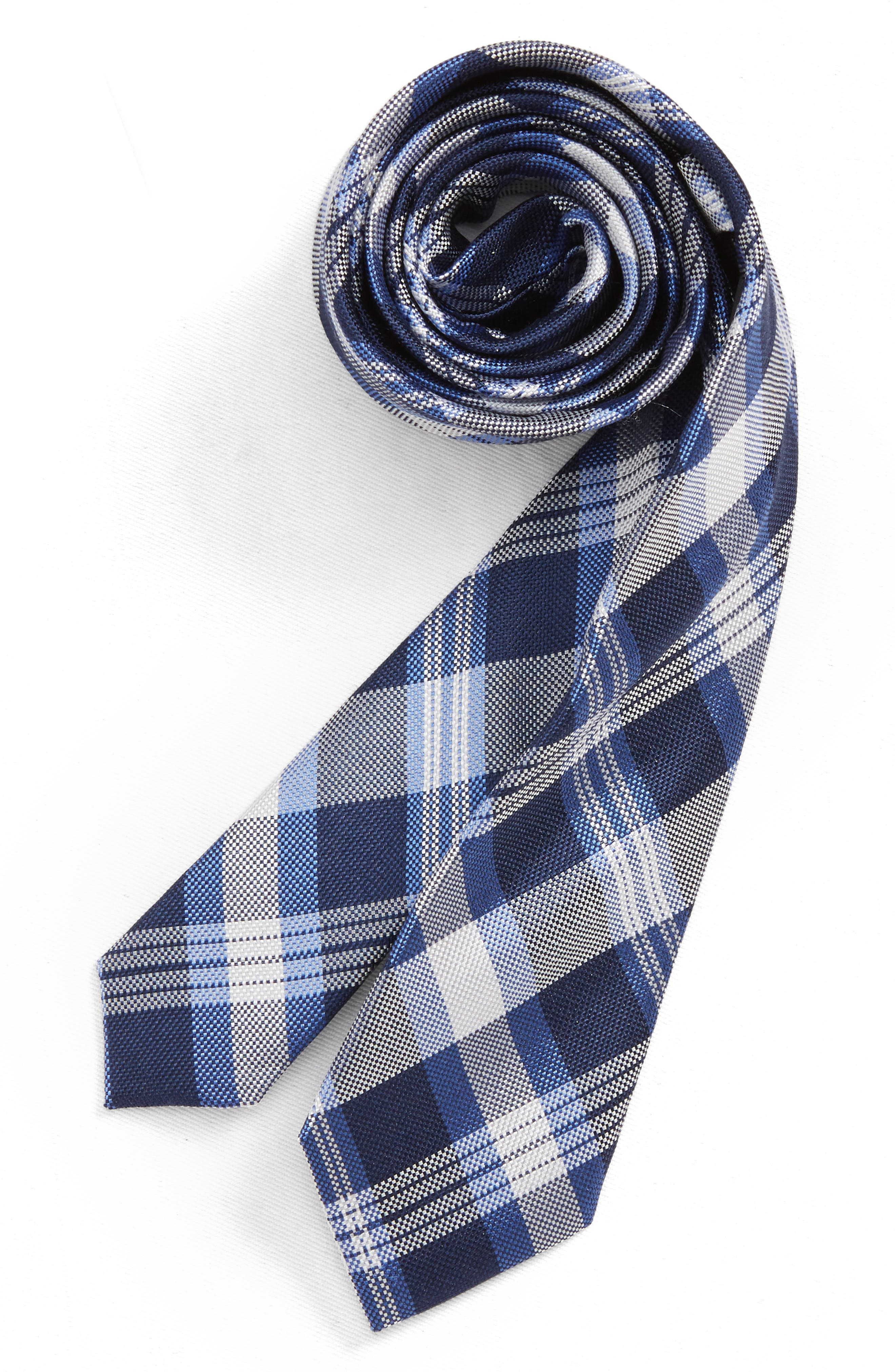 Plaid Silk Tie,                             Main thumbnail 1, color,                             NAVY