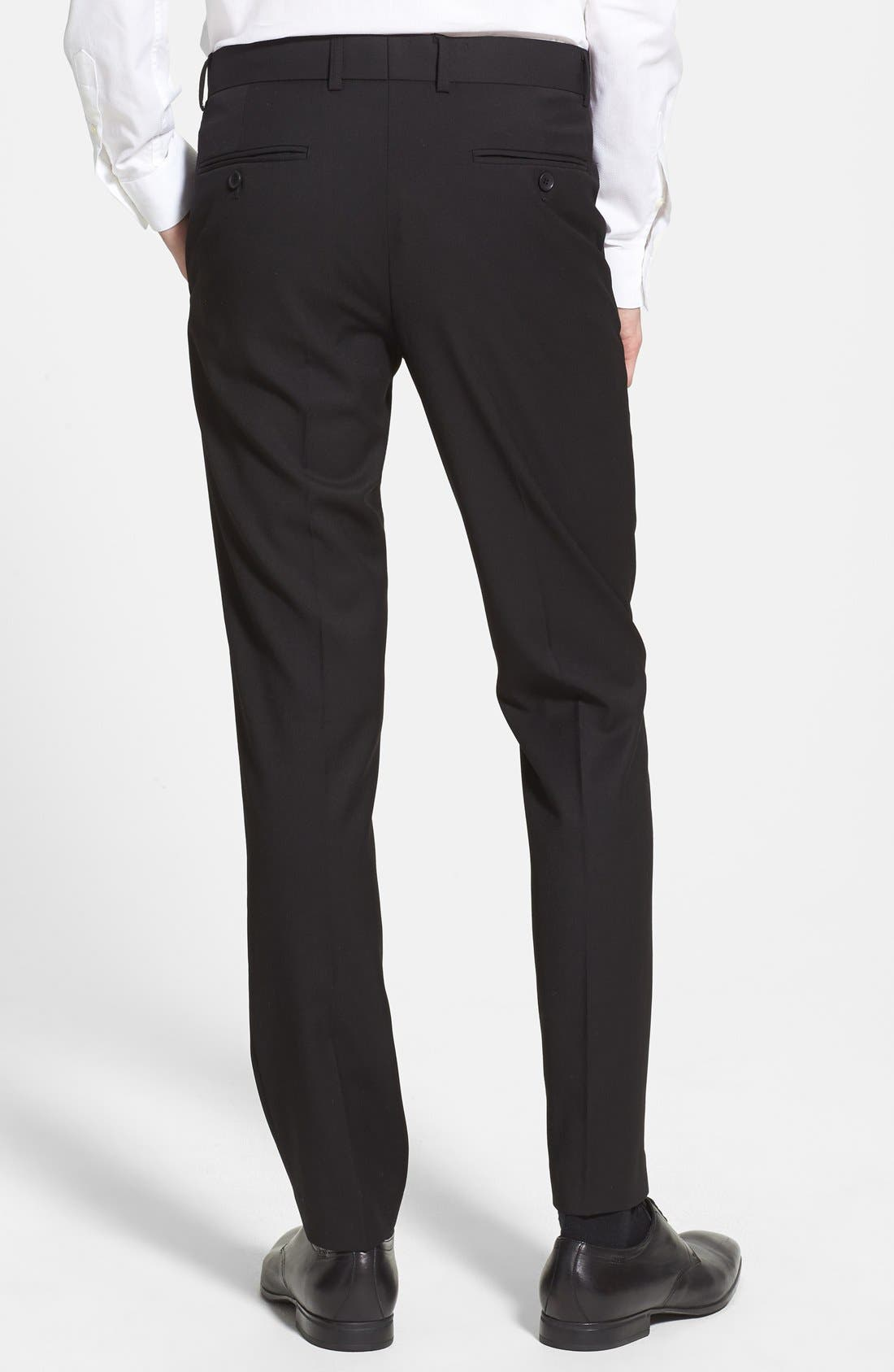 Black Textured Skinny Fit Flat Front Trousers,                             Alternate thumbnail 2, color,                             001