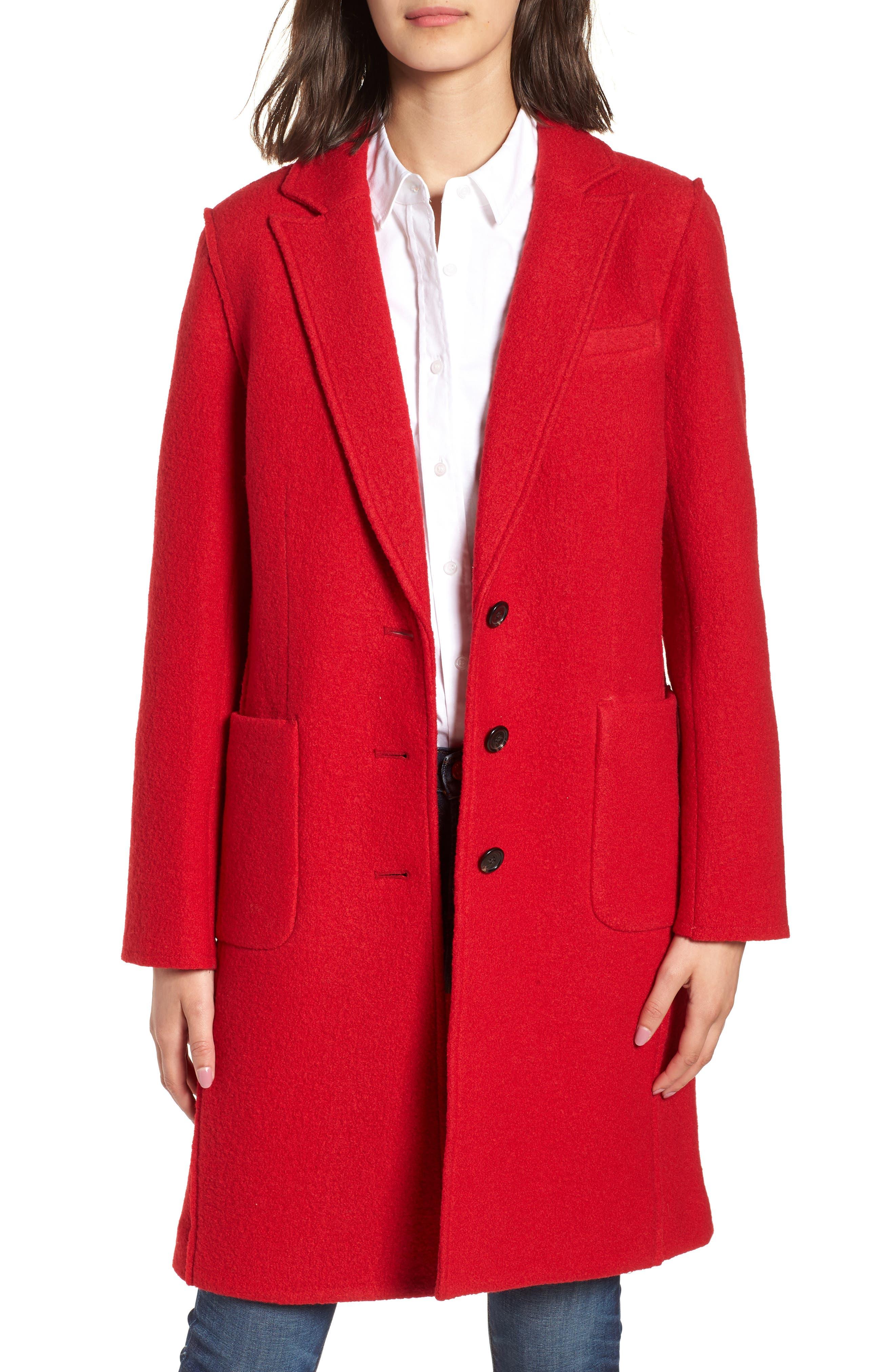 1950s Jackets, Coats, Bolero | Swing, Pin Up, Rockabilly Petite Womens J.crew Olga Boiled Wool Topcoat Size 10P - Red $119.90 AT vintagedancer.com