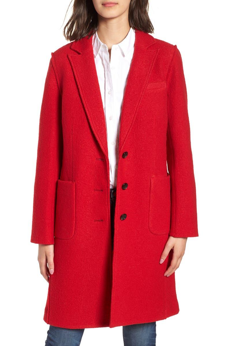 Olga Boiled Wool Topcoat, Main, color, BRIGHT RED