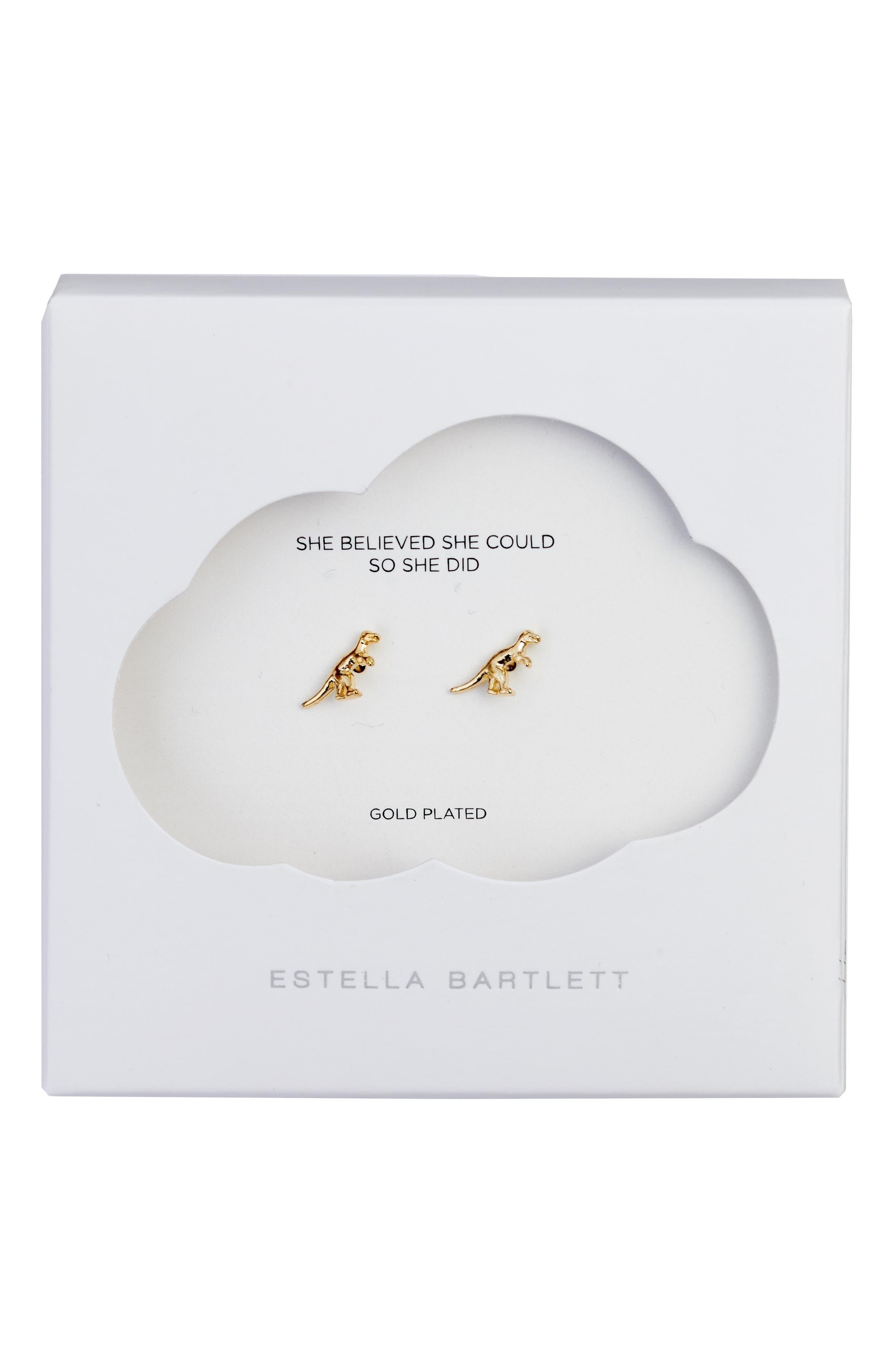 ESTELLA BARTLETT,                             Dinosaur Stud Earrings,                             Alternate thumbnail 3, color,                             710