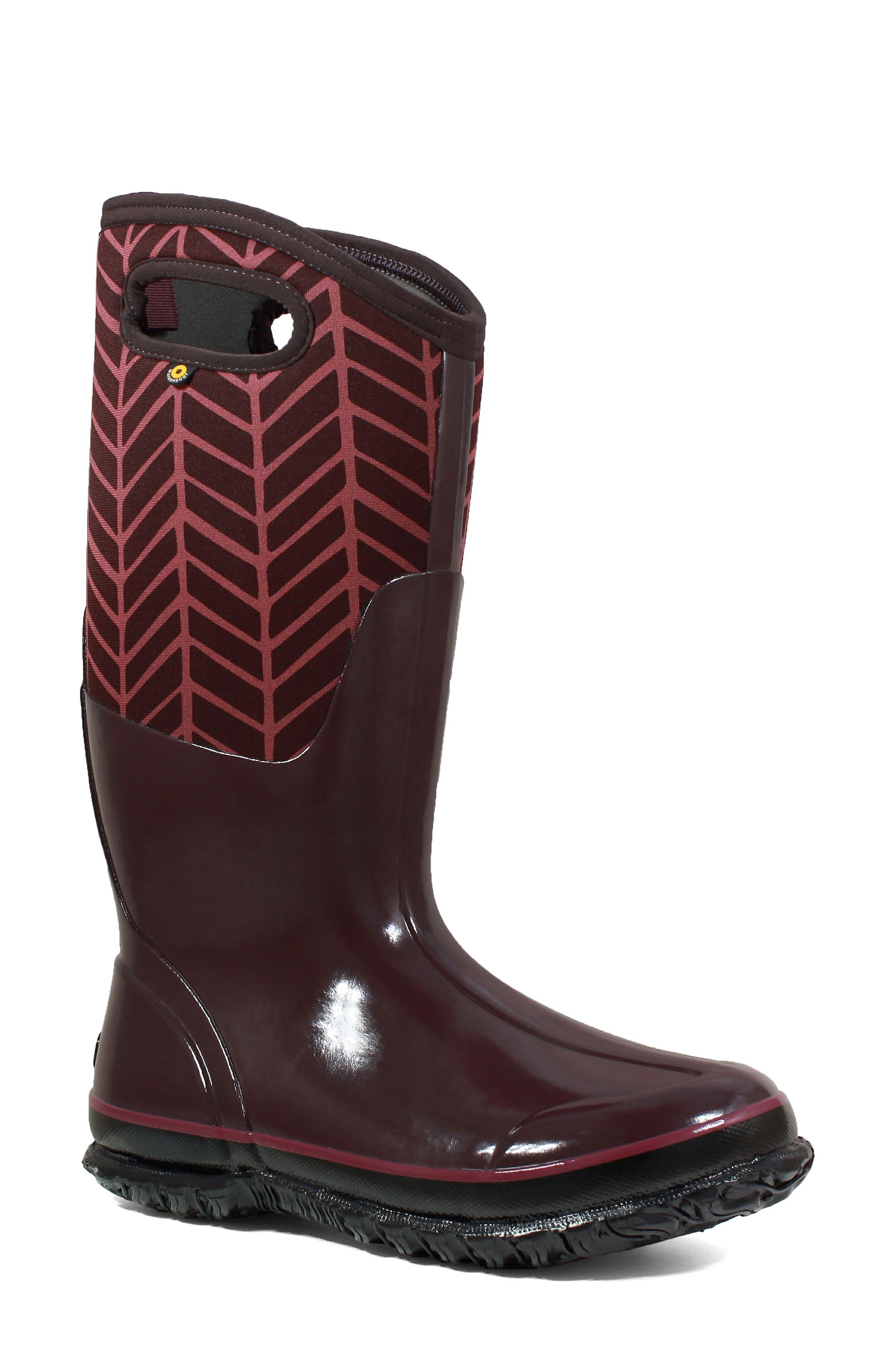 Bogs Classic Tall Badge Waterproof Snow Boot, Purple