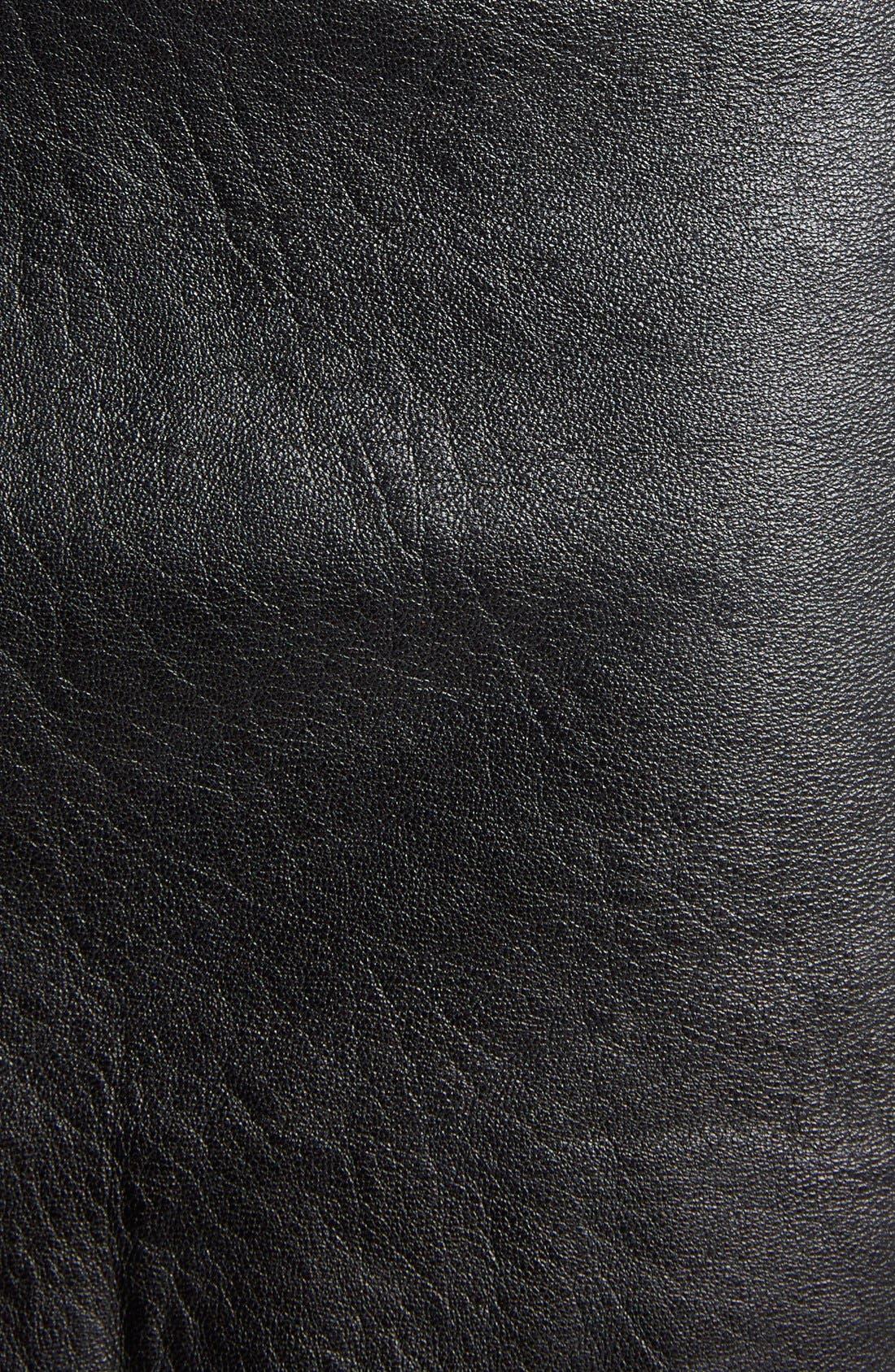 Zip Detail Lambskin Leather Miniskirt,                             Alternate thumbnail 3, color,                             001