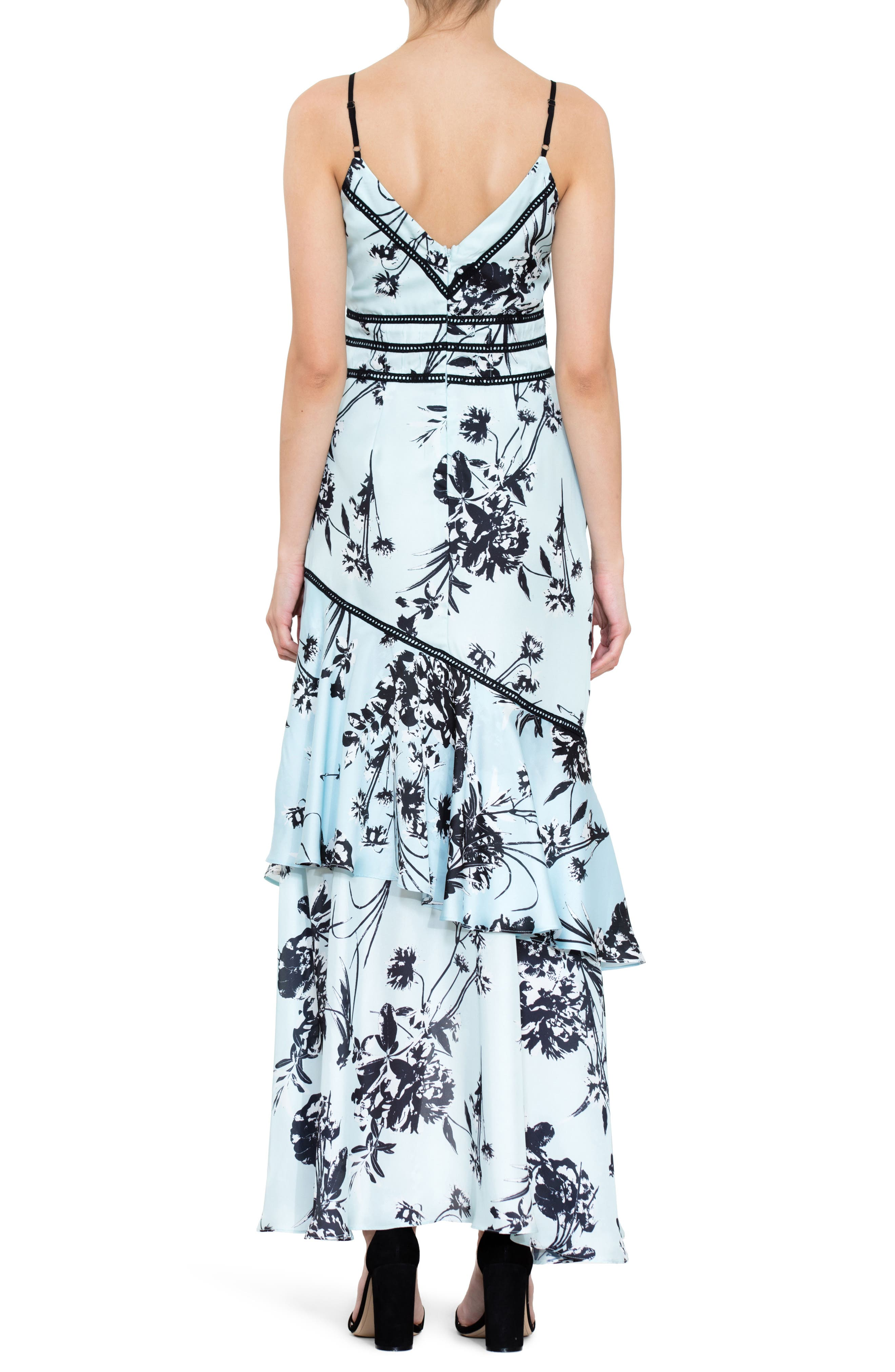 Floral Print Ruffle Gown,                             Alternate thumbnail 2, color,                             450