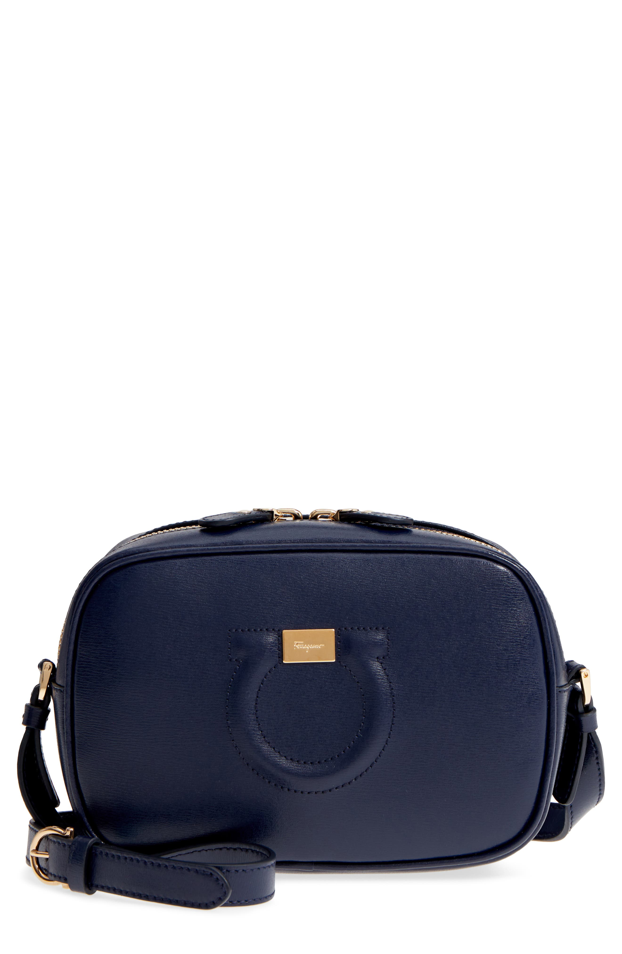 Gancio Metallic Leather Camera Bag,                         Main,                         color, NAVY