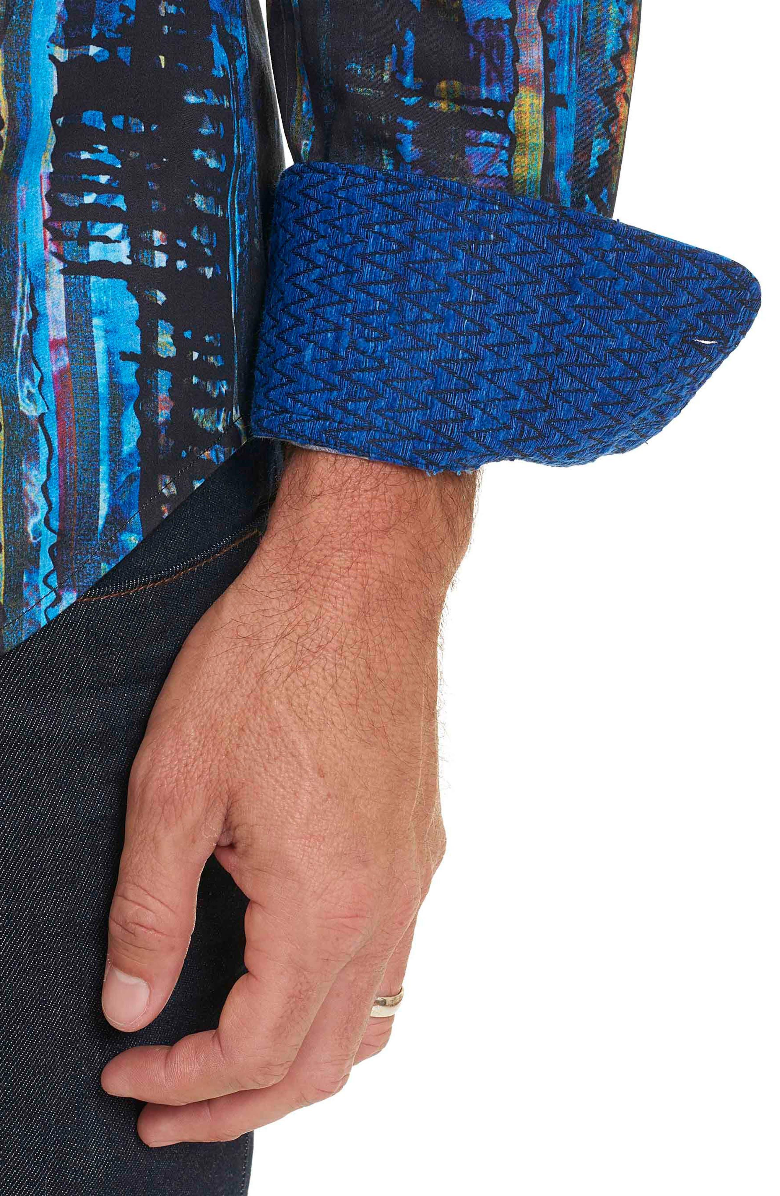 Kathleen's Blues Classic Fit Print Sport Shirt,                             Alternate thumbnail 3, color,                             460