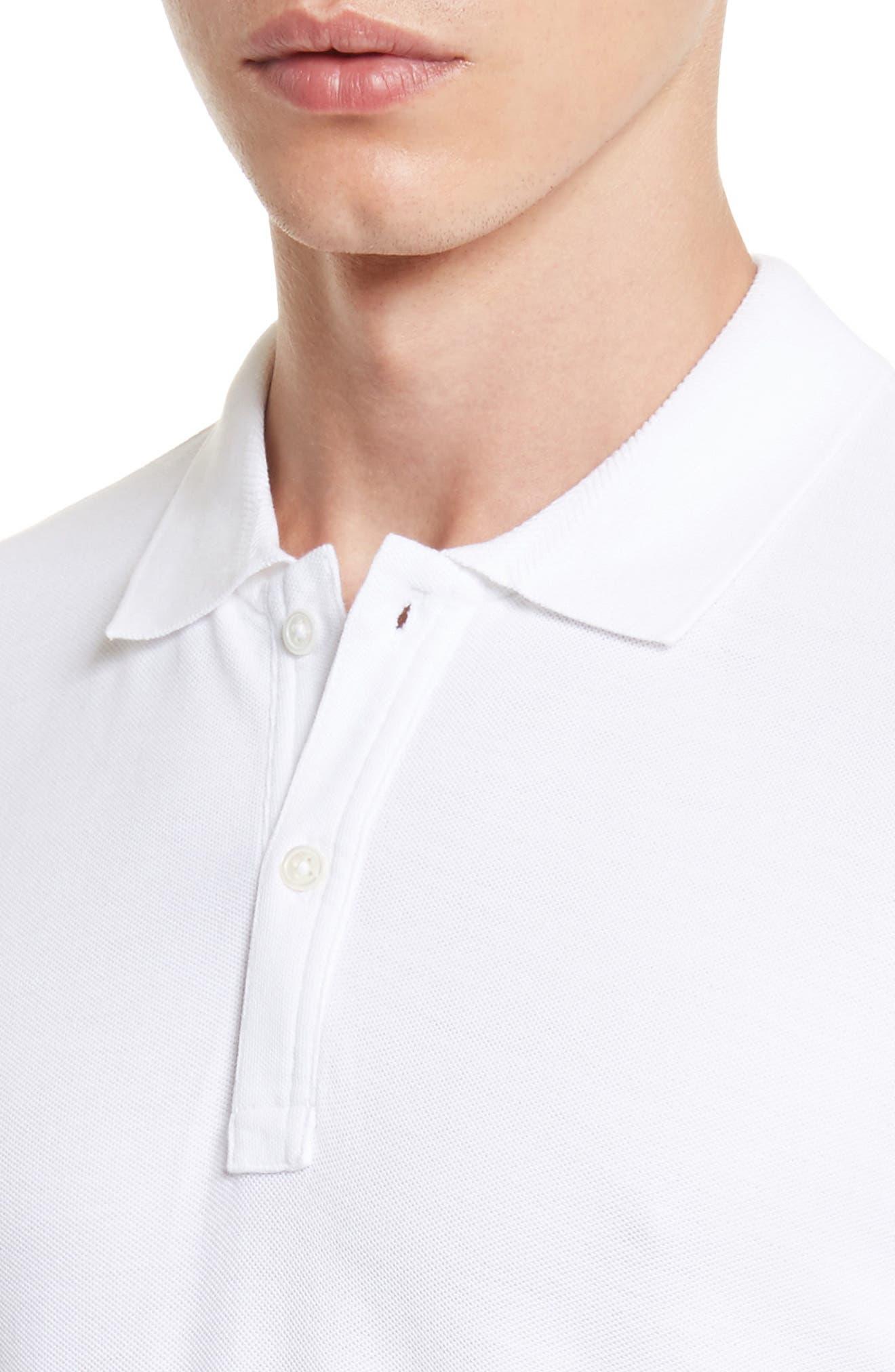 Stitched Collar Cotton Piqué Polo,                             Alternate thumbnail 4, color,                             100